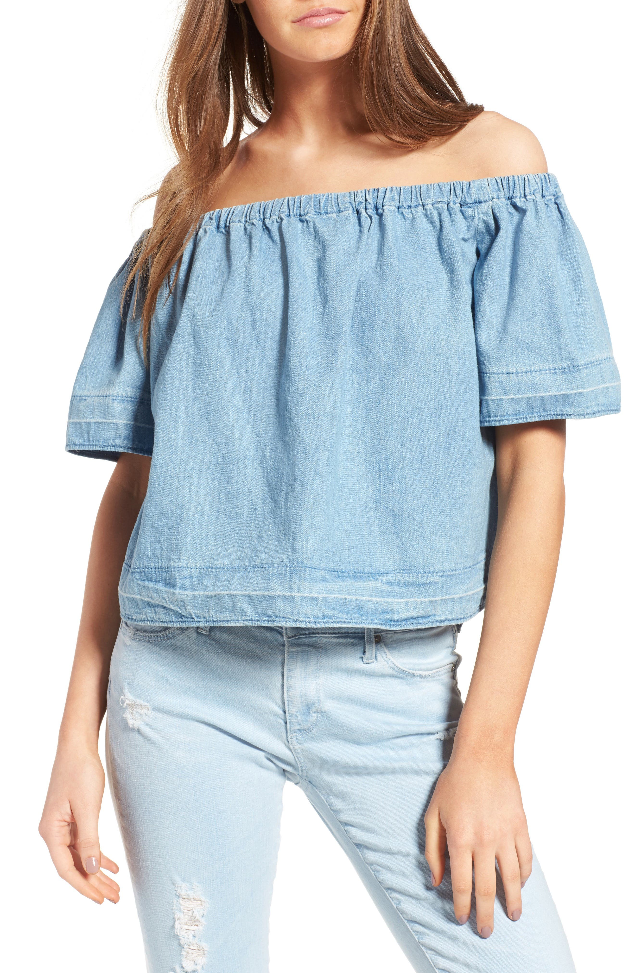 AG Sylvia Cotton Chambray Off the Shoulder Top