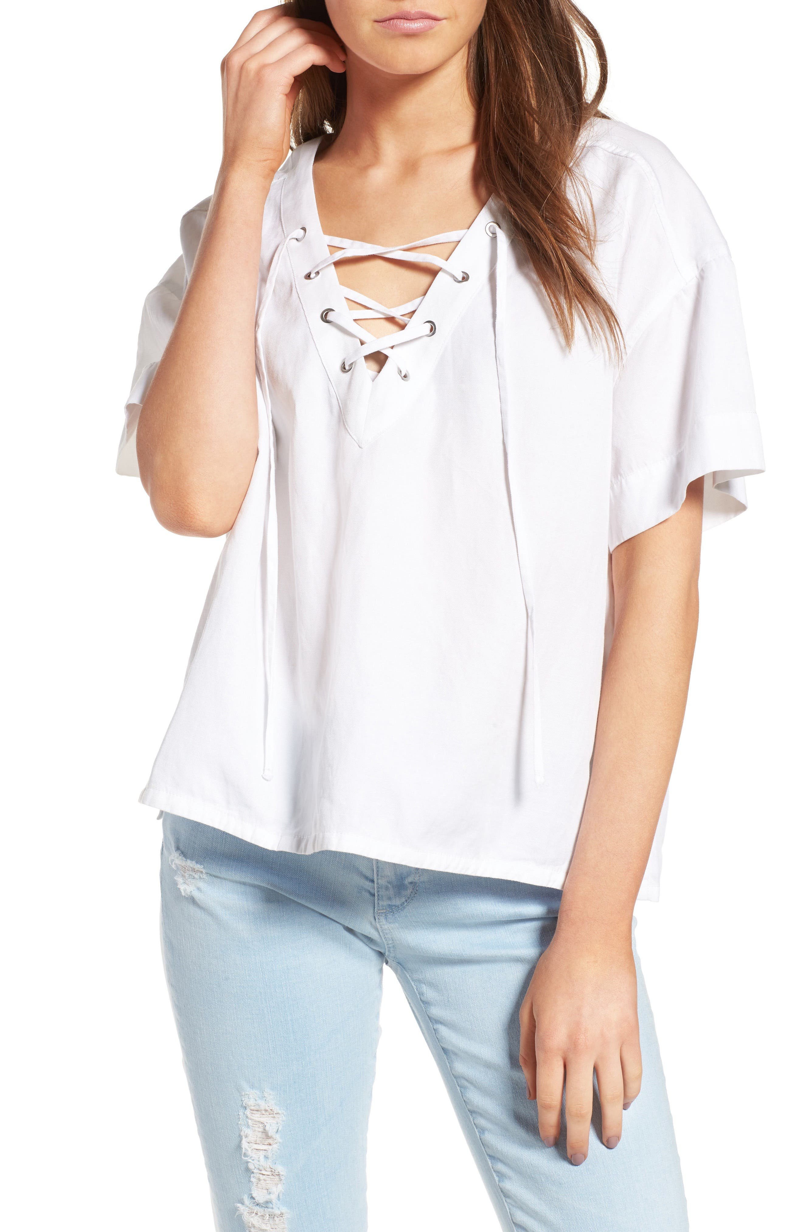 Kelly Lace-Up Cotton Top,                         Main,                         color, True White