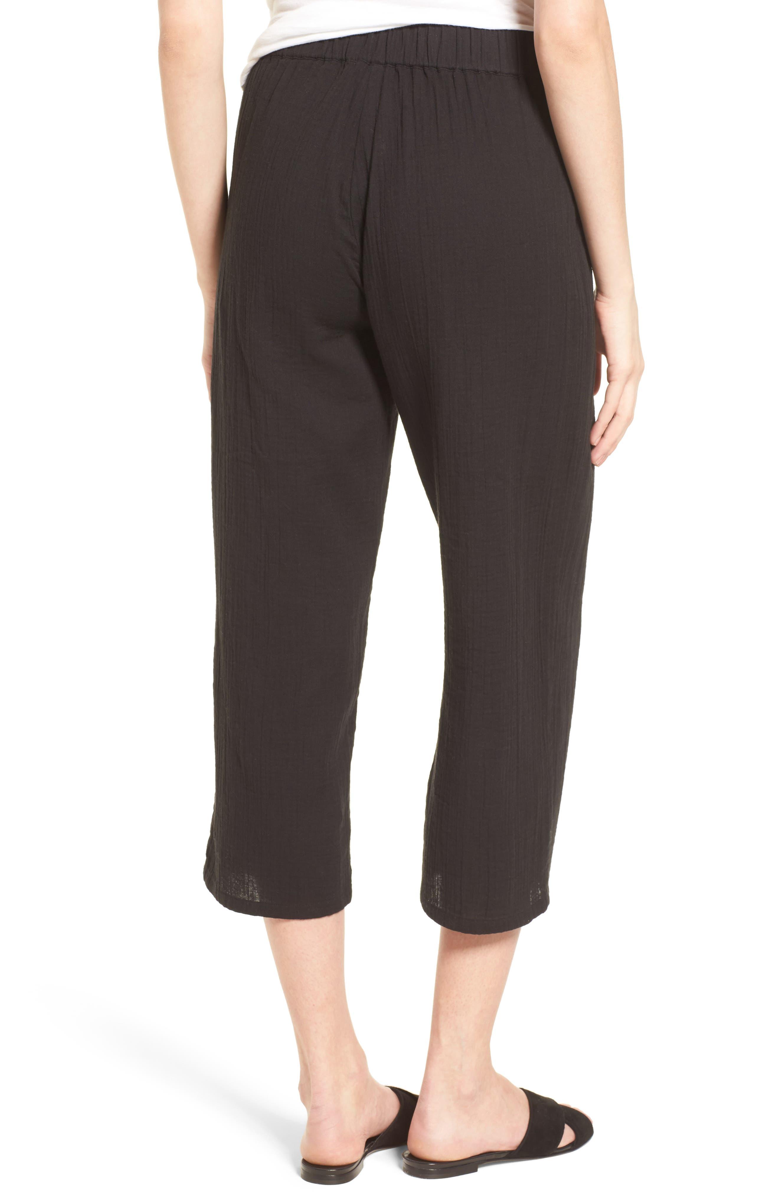 Organic Cotton Crop Pants,                             Alternate thumbnail 2, color,                             Black