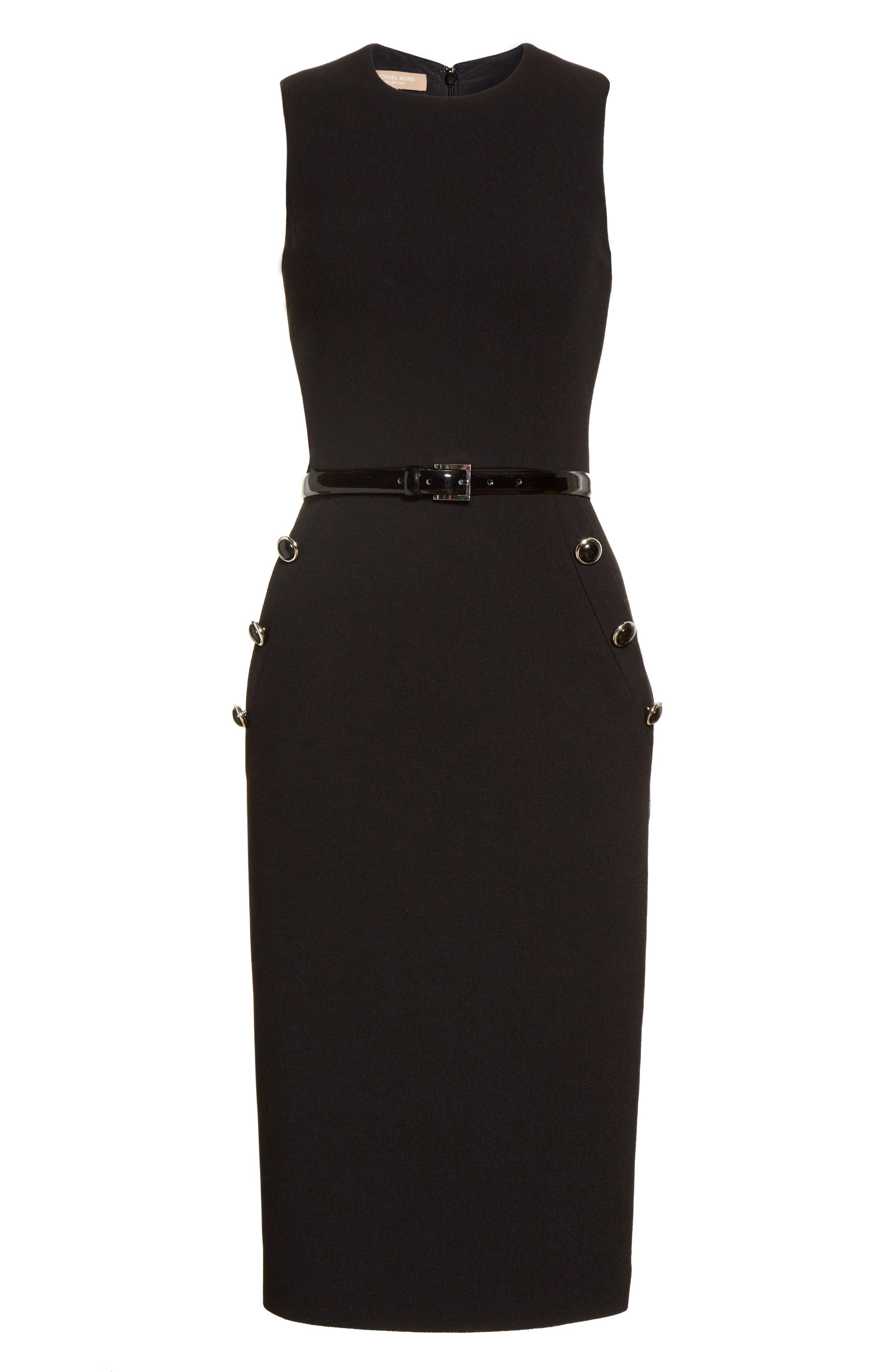 Belted Stretch Bouclé Crepe Sheath Dress,                             Alternate thumbnail 4, color,                             Black