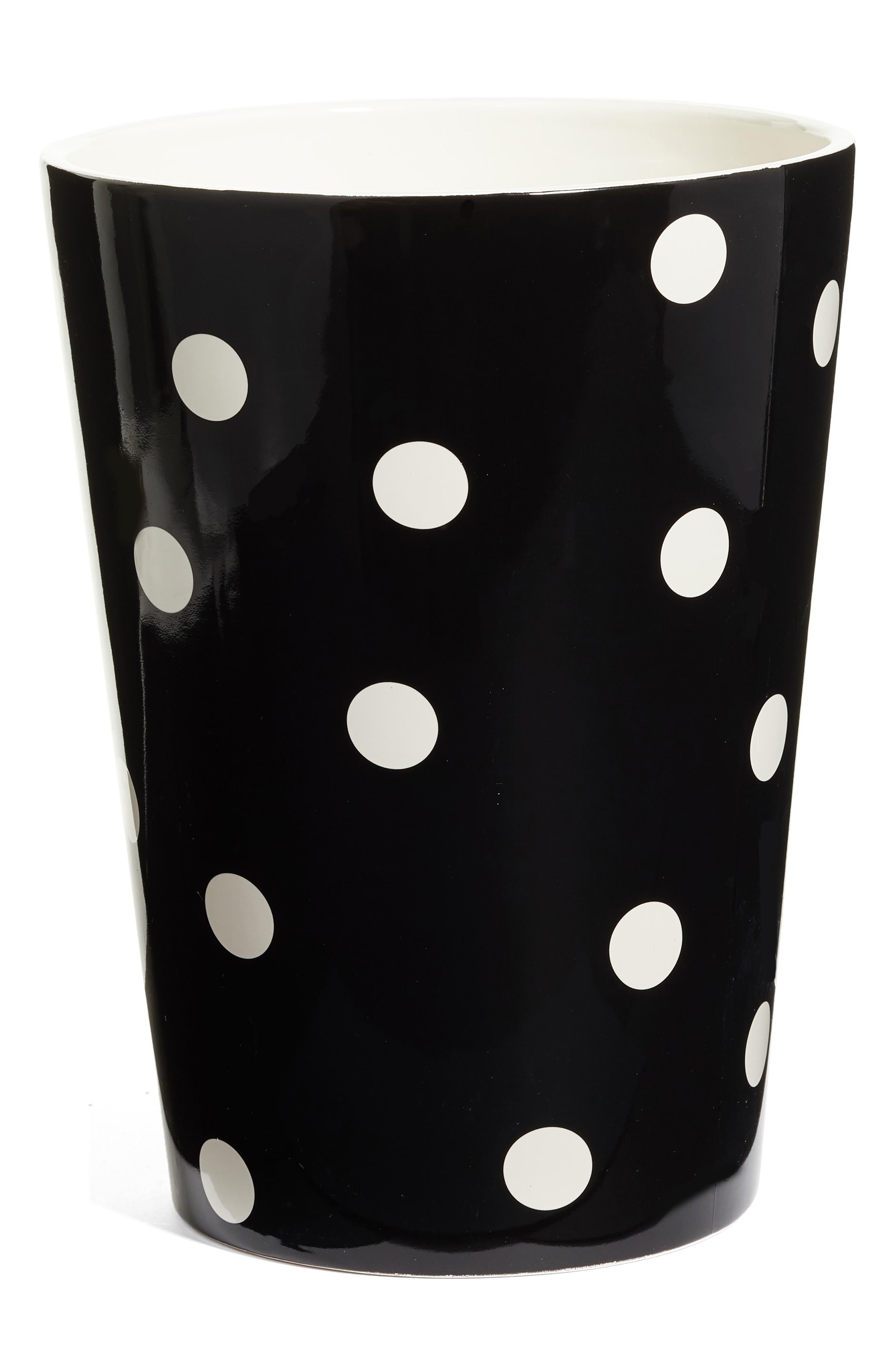 deco dot waste basket,                         Main,                         color, Black/ White