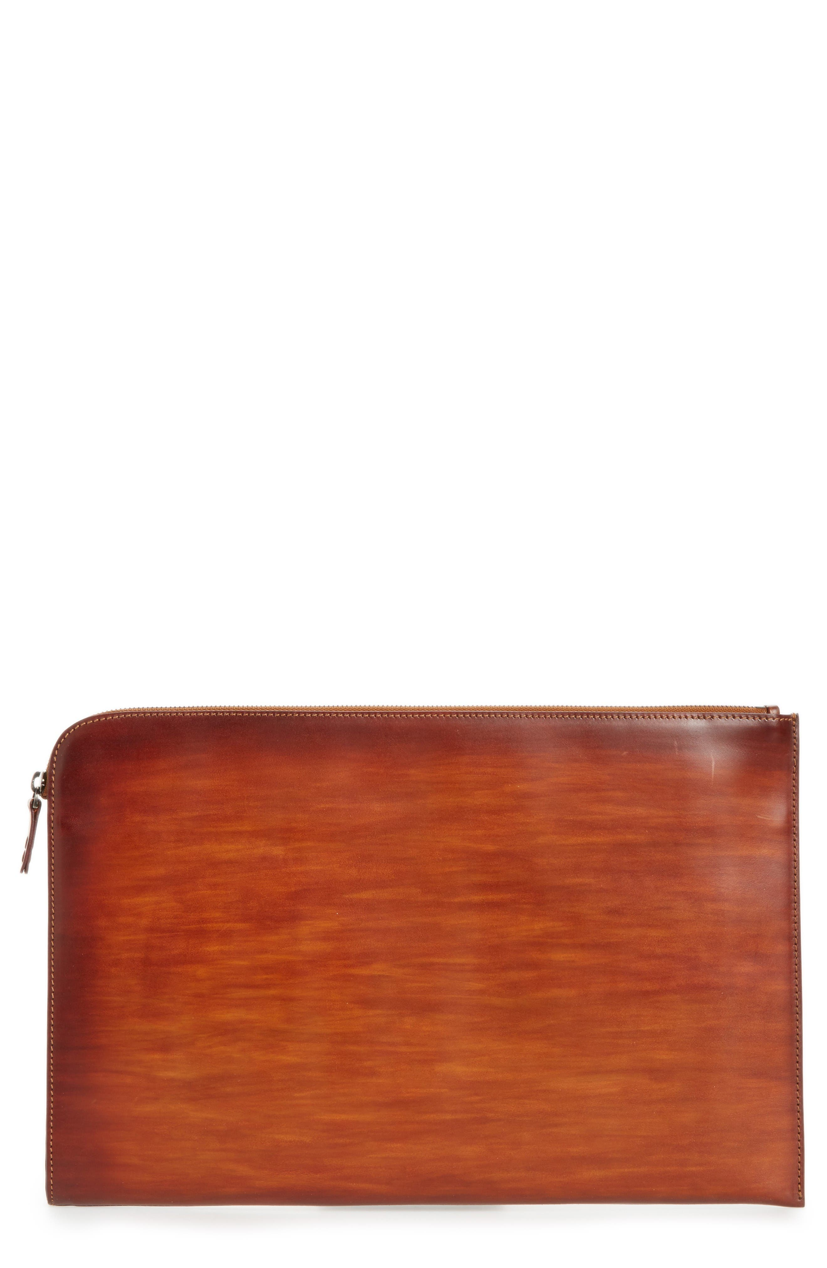 Leather Portfolio,                         Main,                         color, Mid Brown