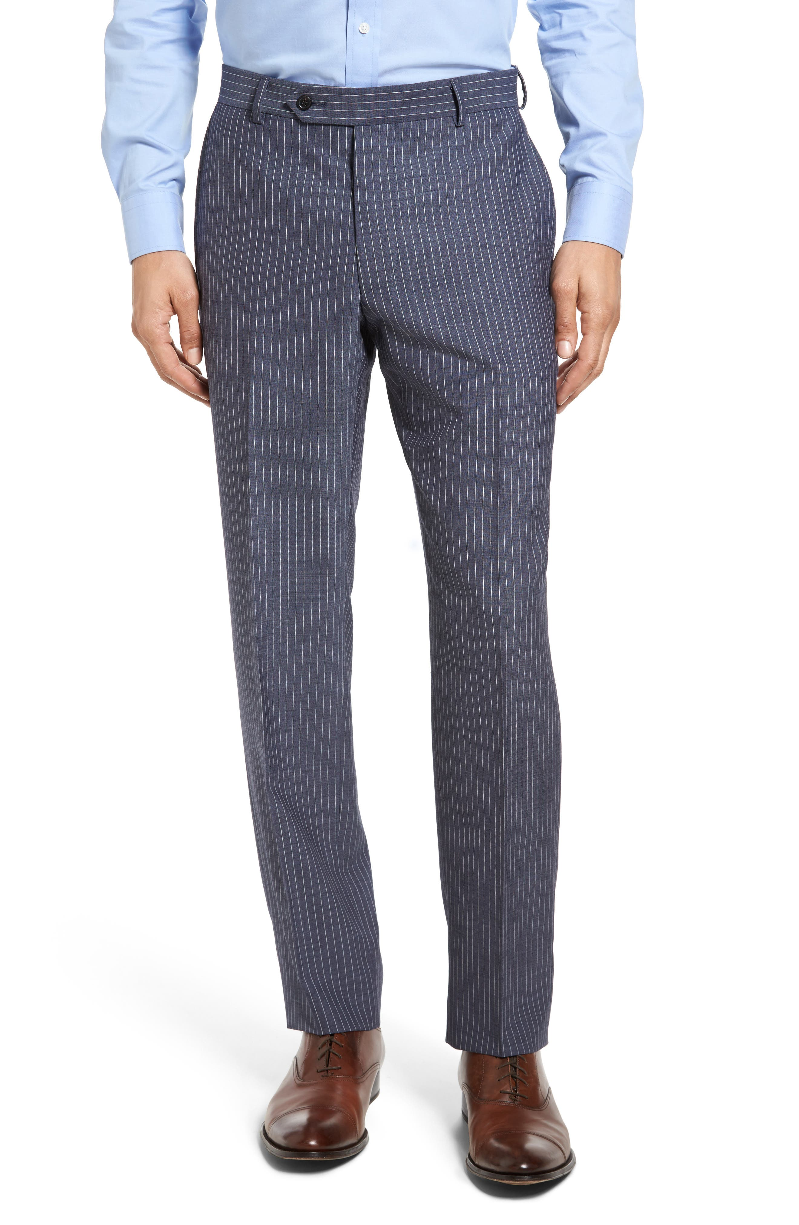 Beckett Classic Fit Stripe Wool Suit,                             Alternate thumbnail 6, color,                             Light Blue