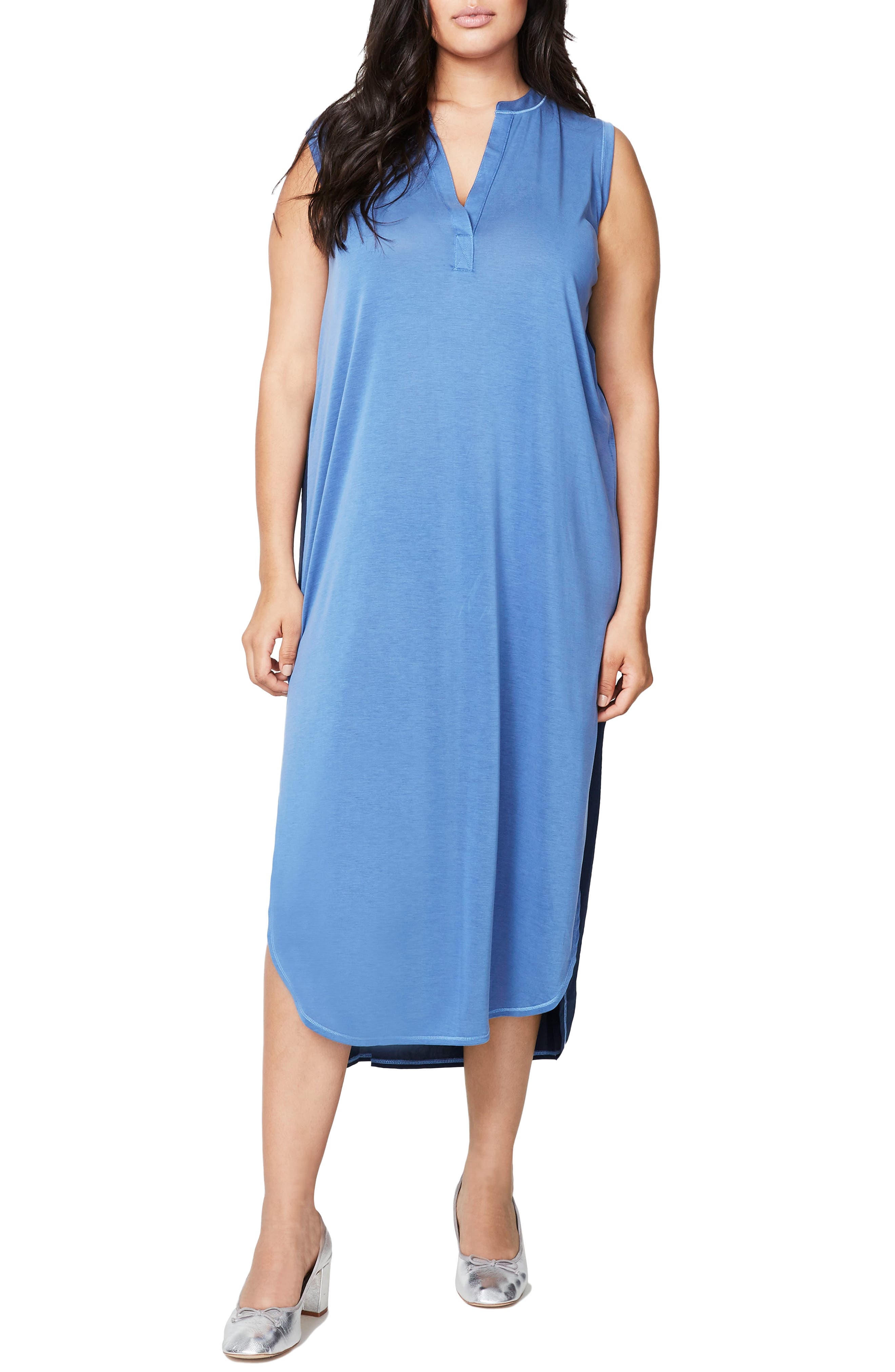 Main Image - Rachel Roy Mixed Media Midi Shift Dress (Plus Size)