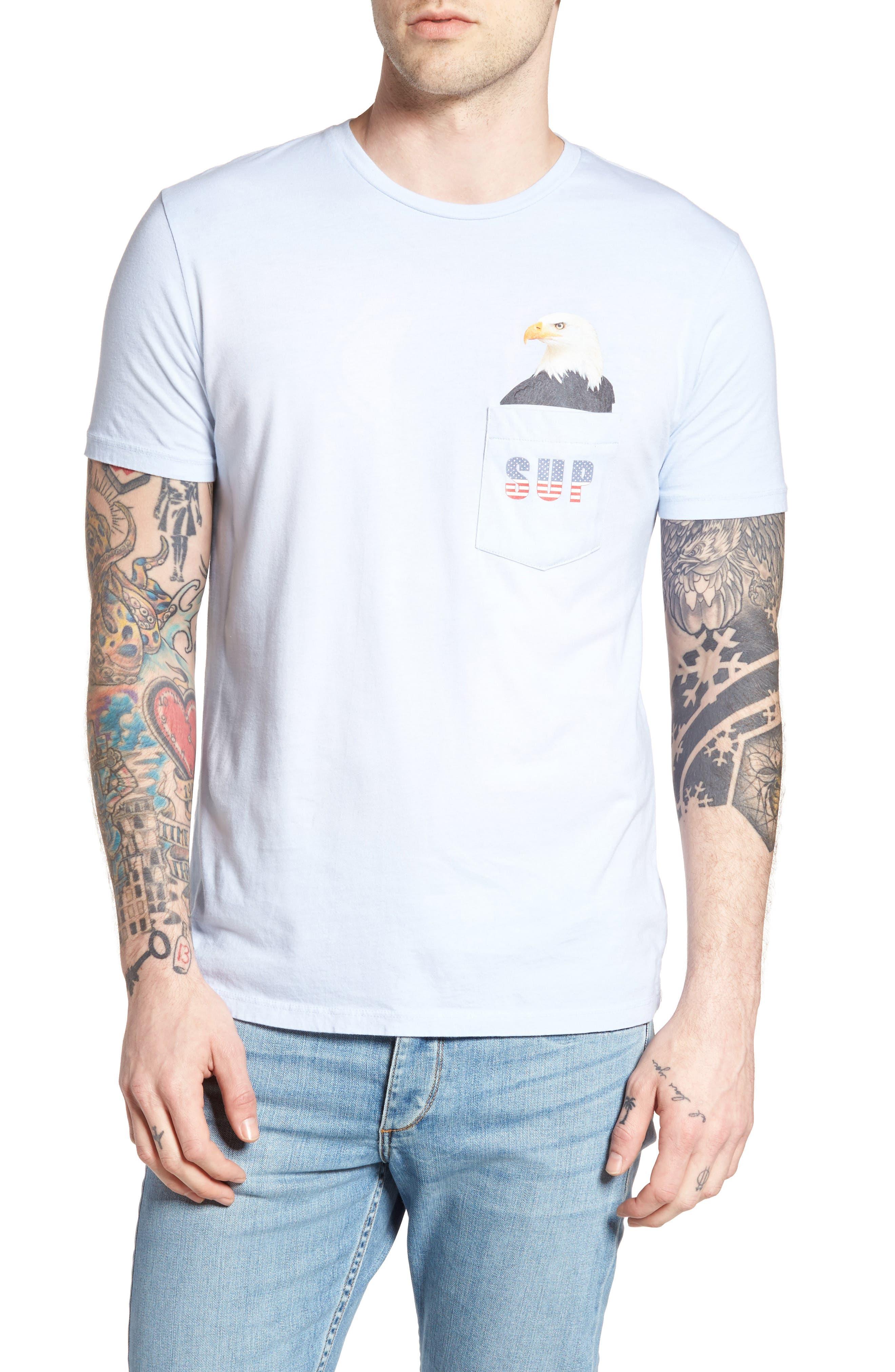 SUP Eagle Pocket T-Shirt,                         Main,                         color, Powder Blue