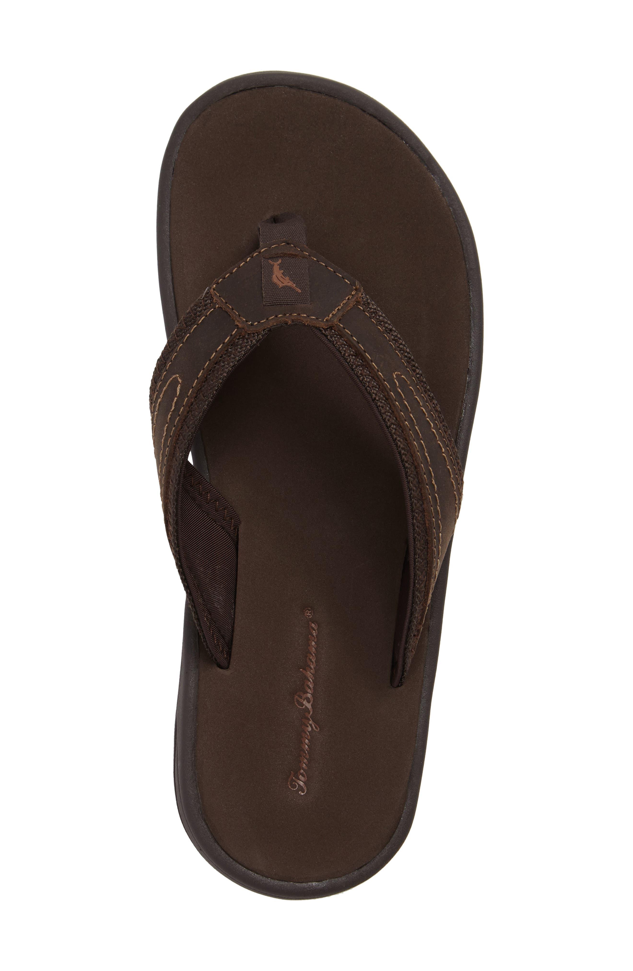 Seawell Flip Flop,                             Alternate thumbnail 5, color,                             Dark Brown Leather