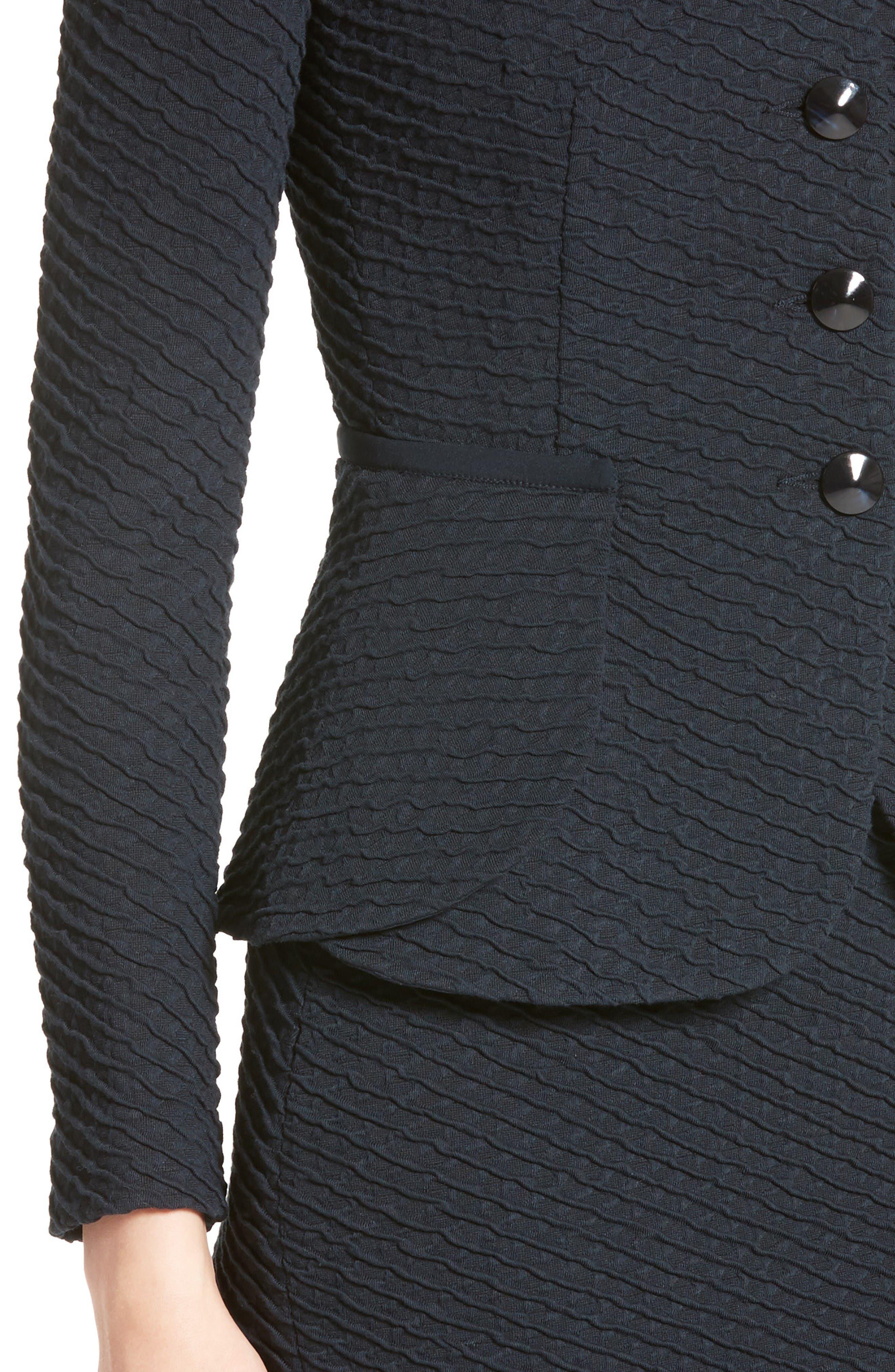 Diagonal Jacquard Peplum Jacket,                             Alternate thumbnail 6, color,                             Navy