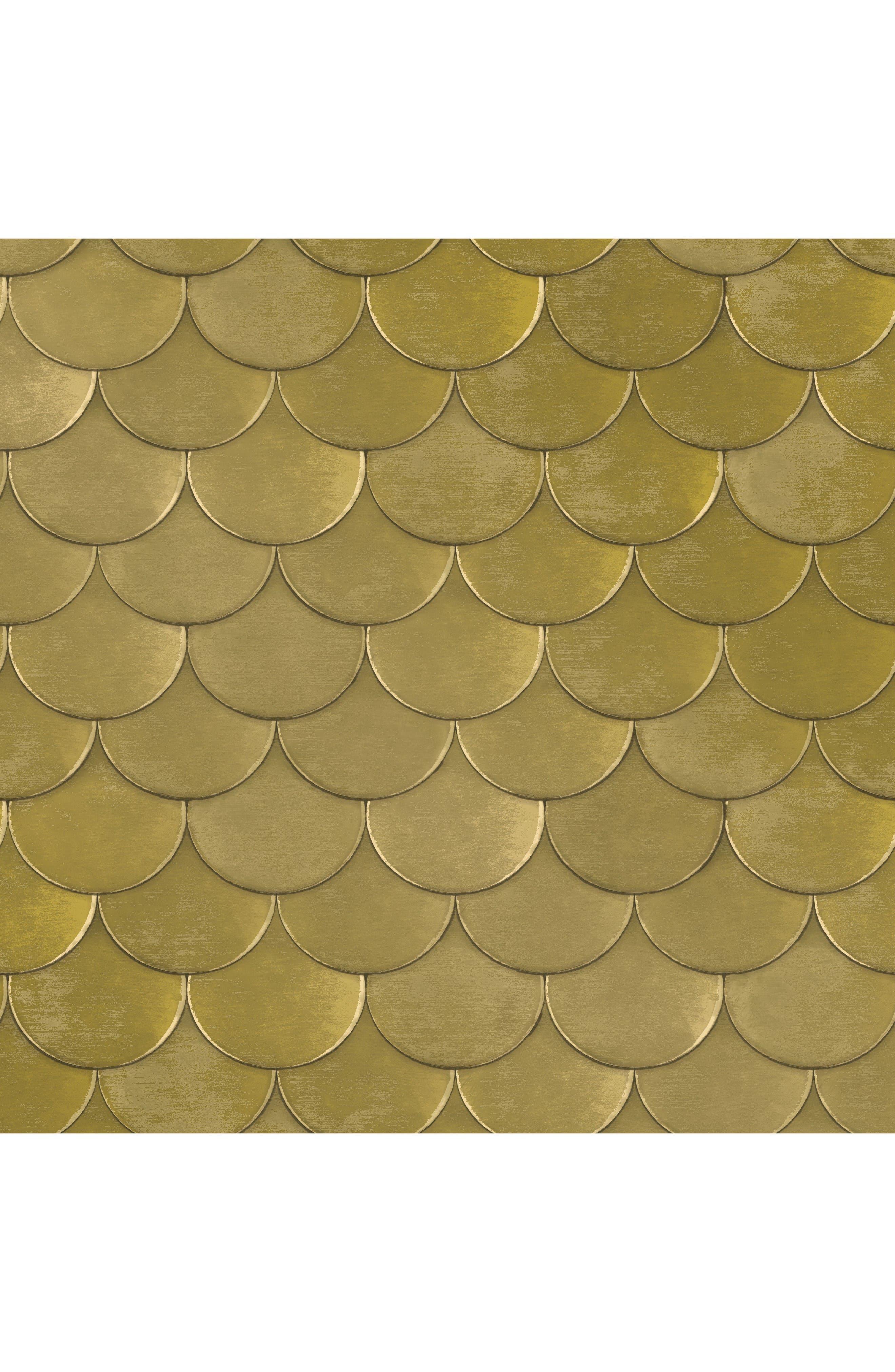 Brass Belly Self-Adhesive Vinyl Wallpaper,                             Main thumbnail 1, color,                             Metallic Gold