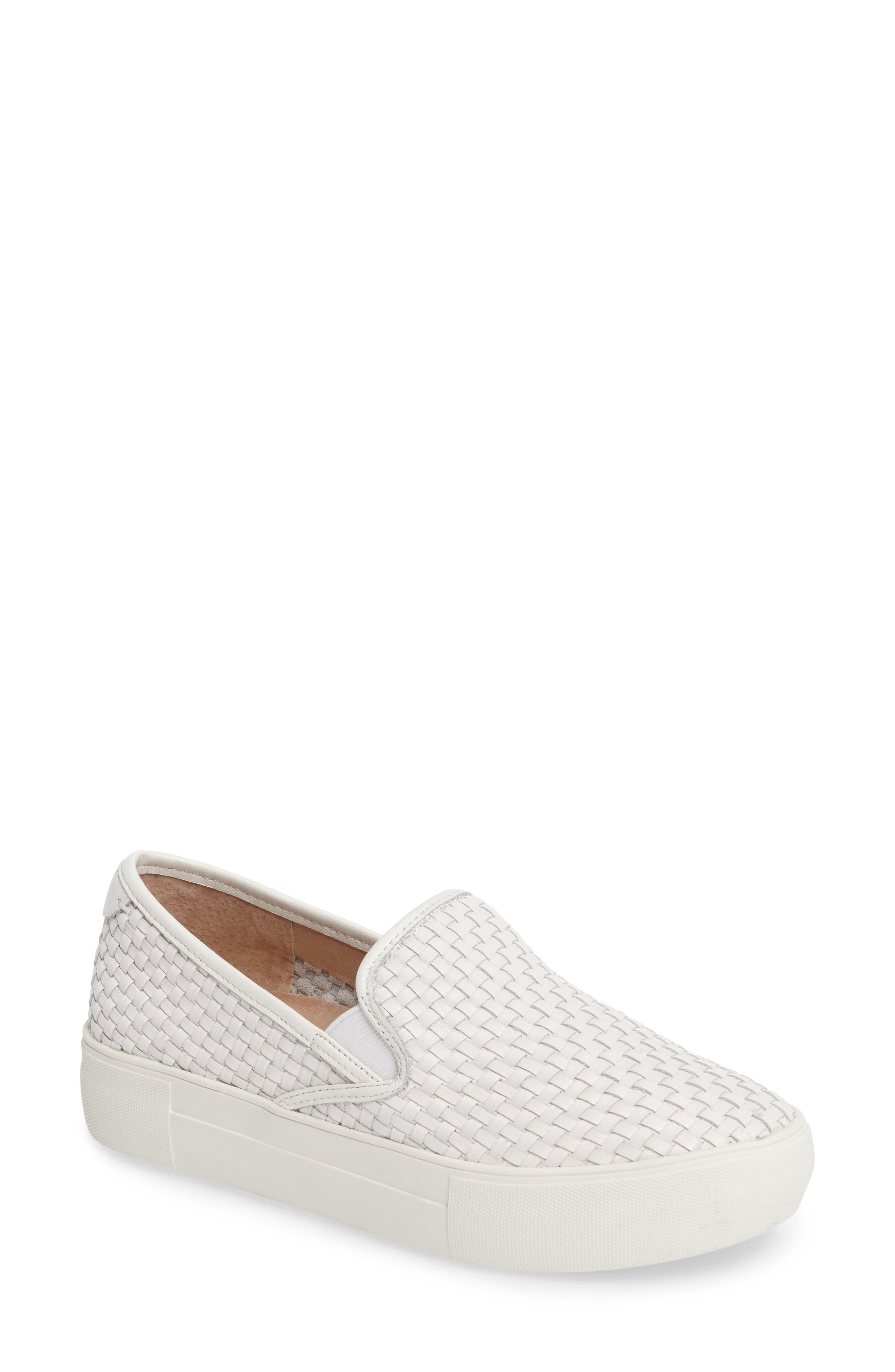 Alyssa Platform Slip-On Sneaker,                             Main thumbnail 1, color,                             White Leather