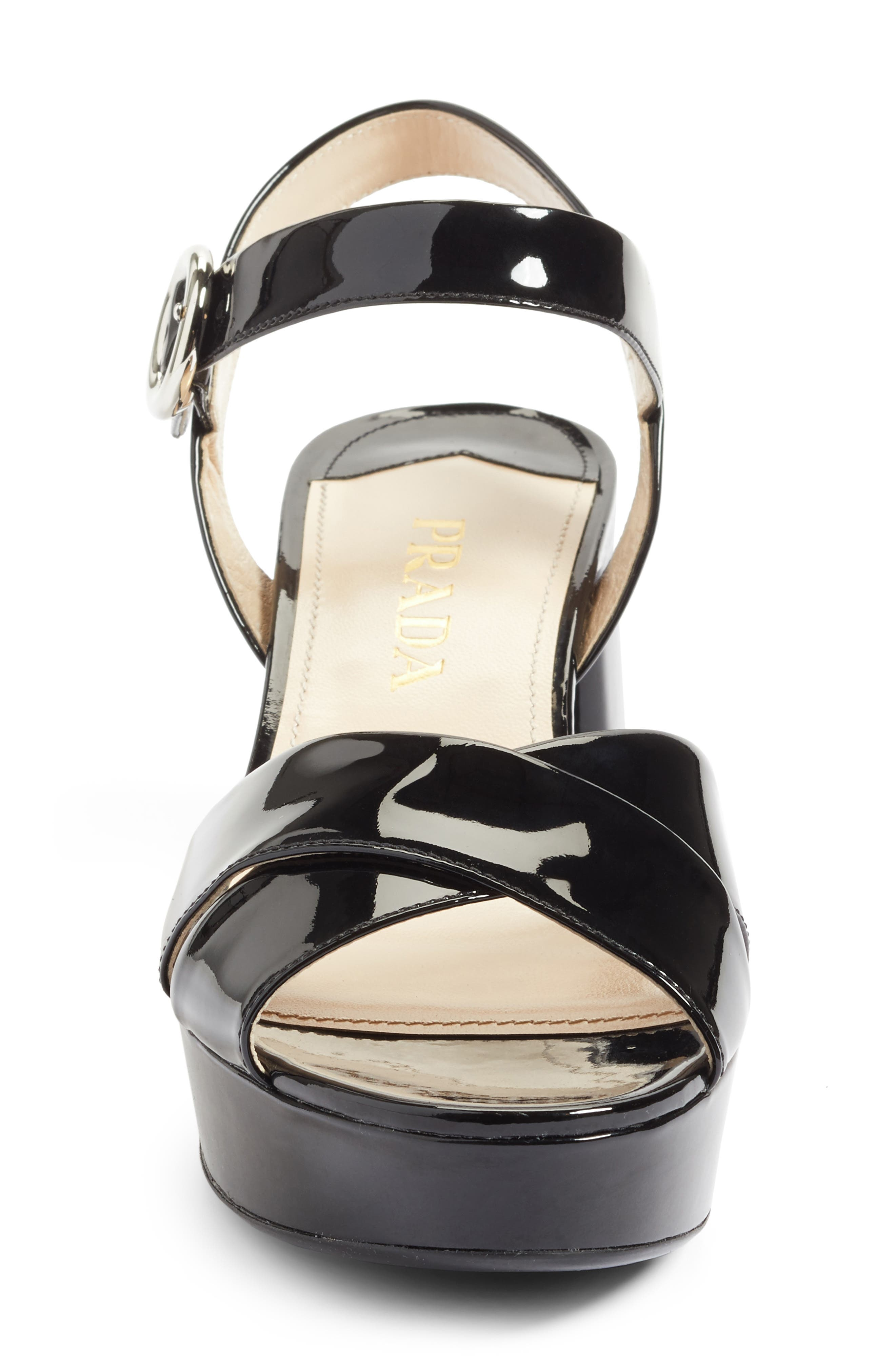 Strappy Platform Sandal,                             Alternate thumbnail 4, color,                             Black Patent