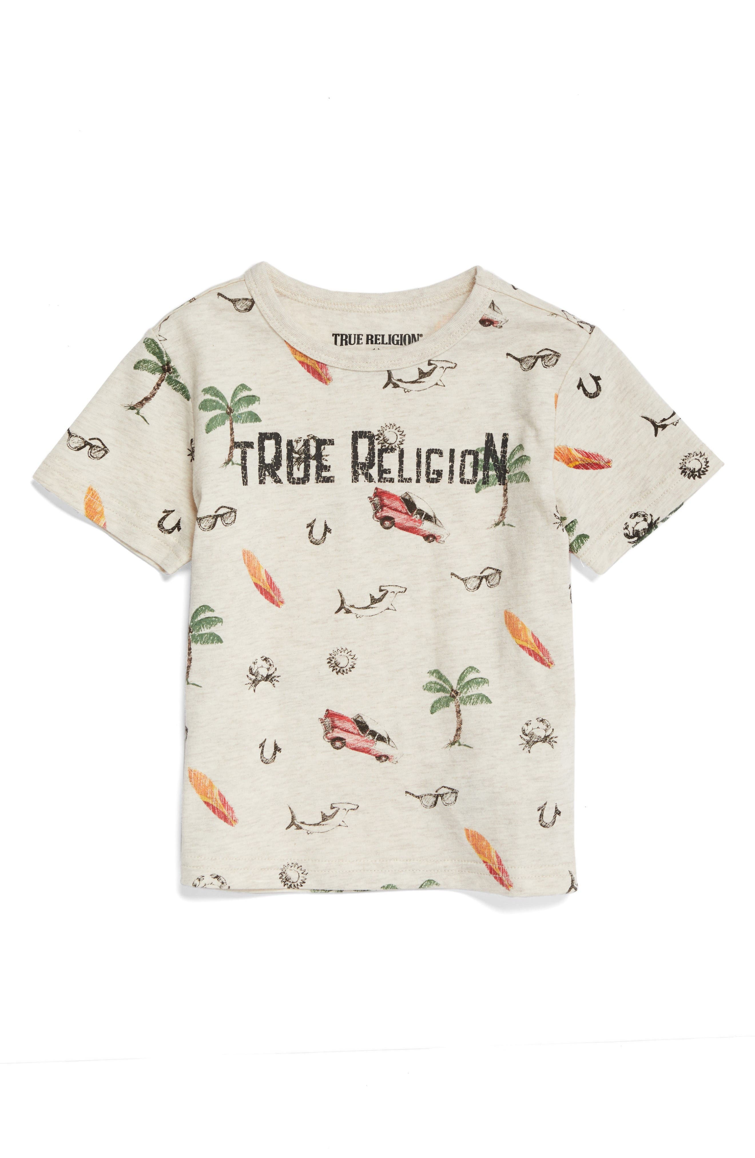 True Religion Retro Doodle T-Shirt,                         Main,                         color, Oatmeal Heather