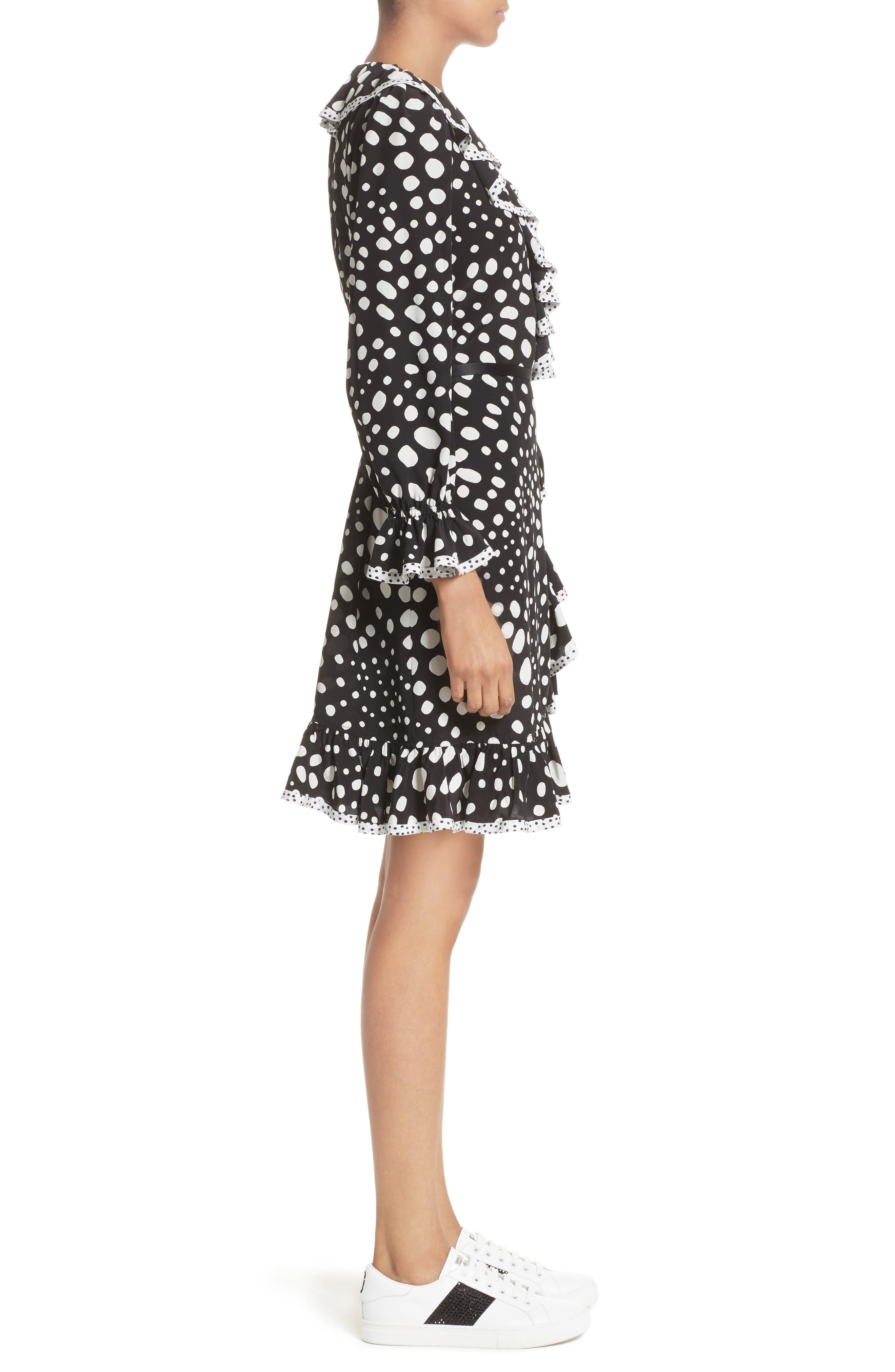 Polka Dot Ruffle Silk Wrap Dress,                             Alternate thumbnail 8, color,                             Black/ White