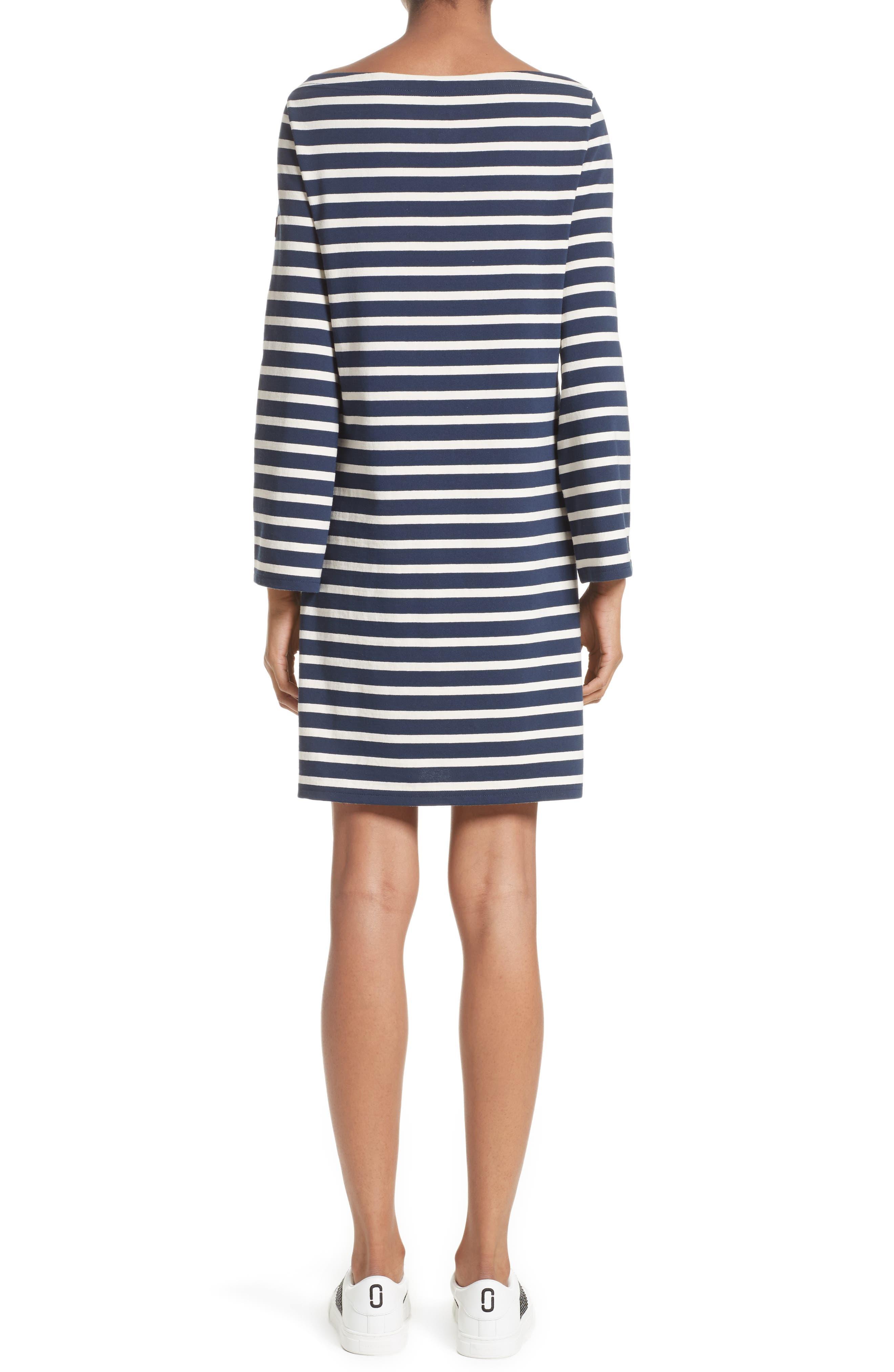 Reverse Breton Stripe Dress,                             Alternate thumbnail 2, color,                             Navy/ Ecru