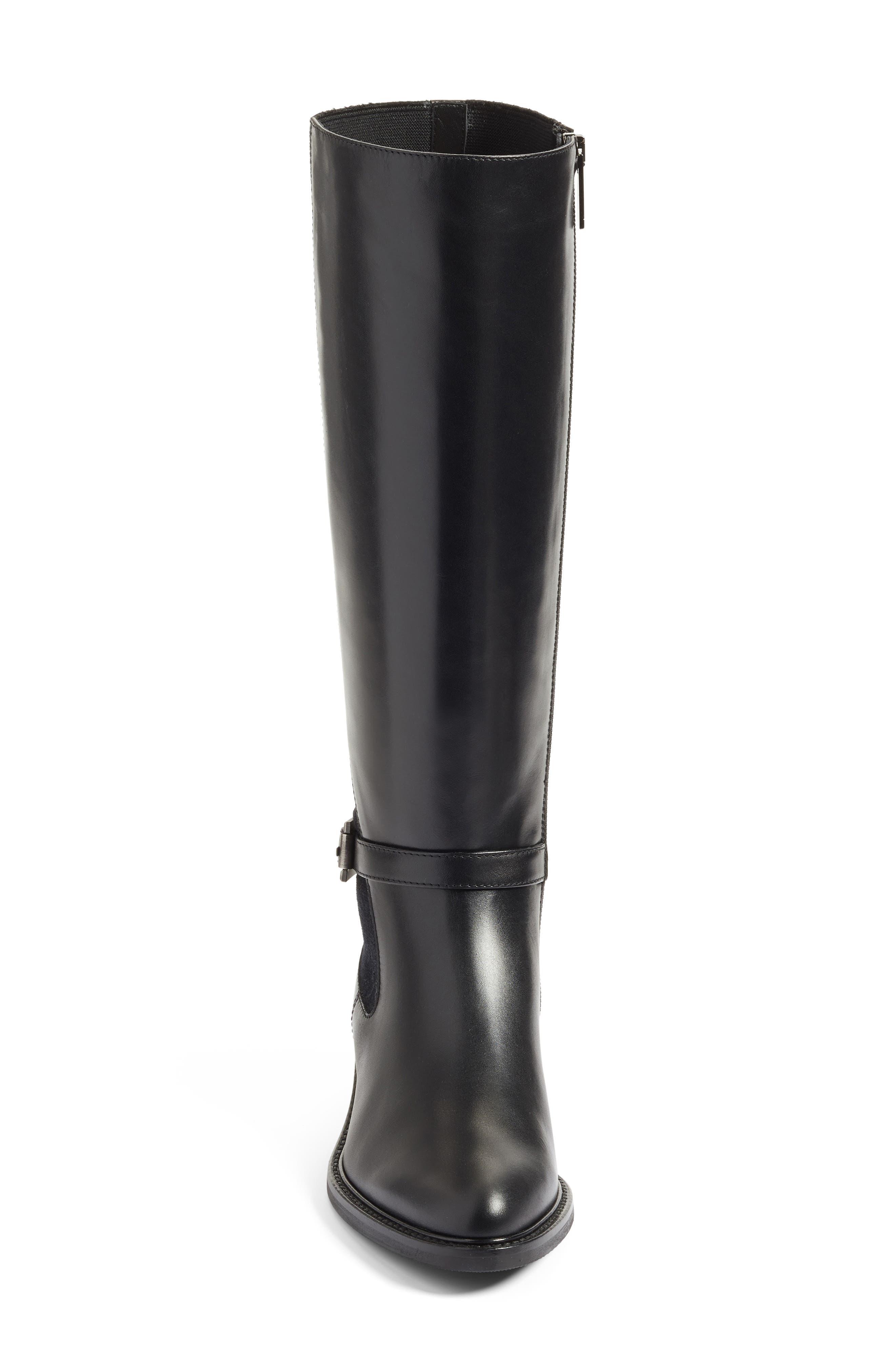 Genna Weatherproof Tall Boot,                             Alternate thumbnail 5, color,                             Black Calf/ Elastic/ Suede