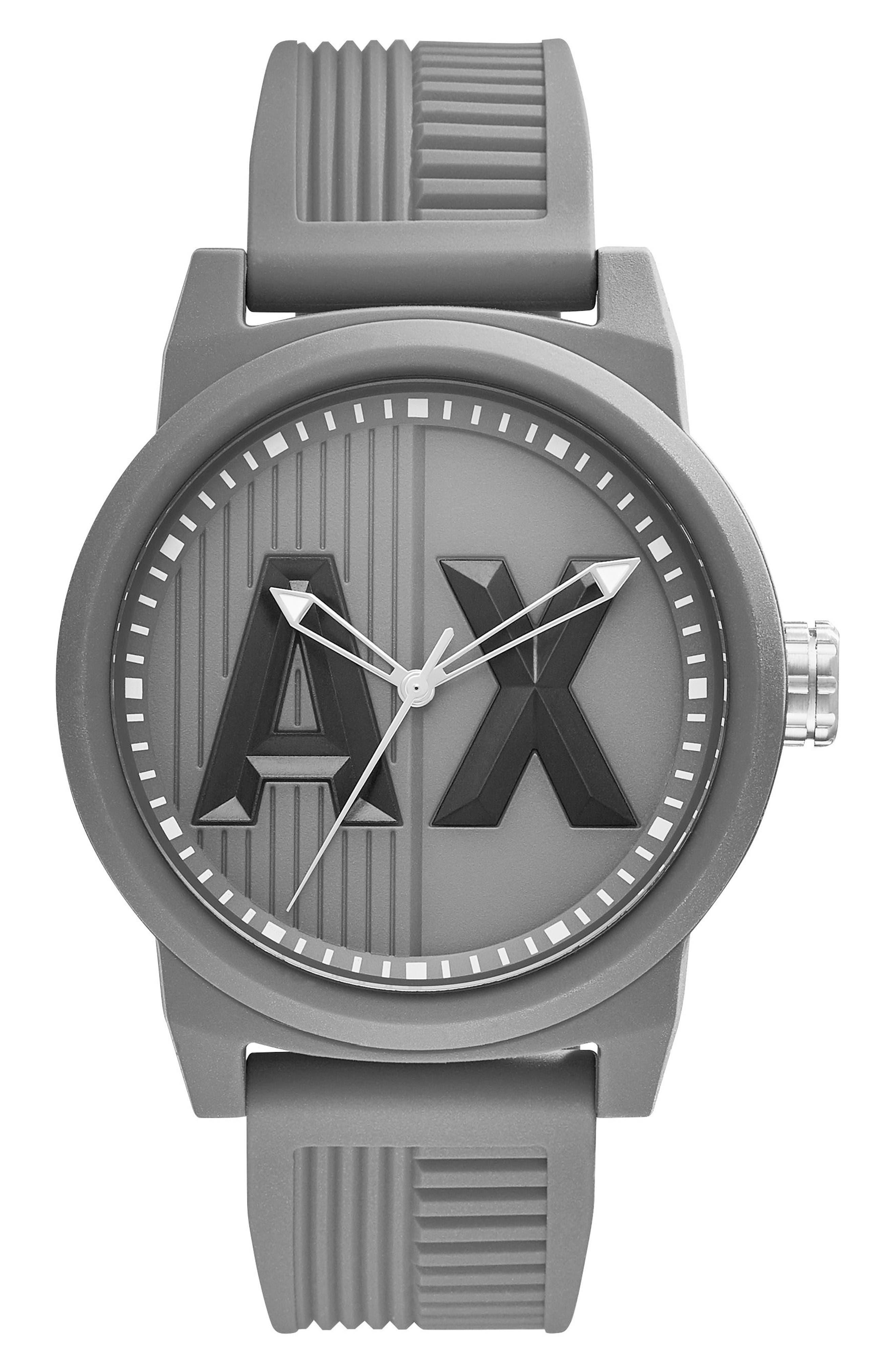 Logo Silicone Strap Watch, 46mm,                         Main,                         color, Grey/ Grey