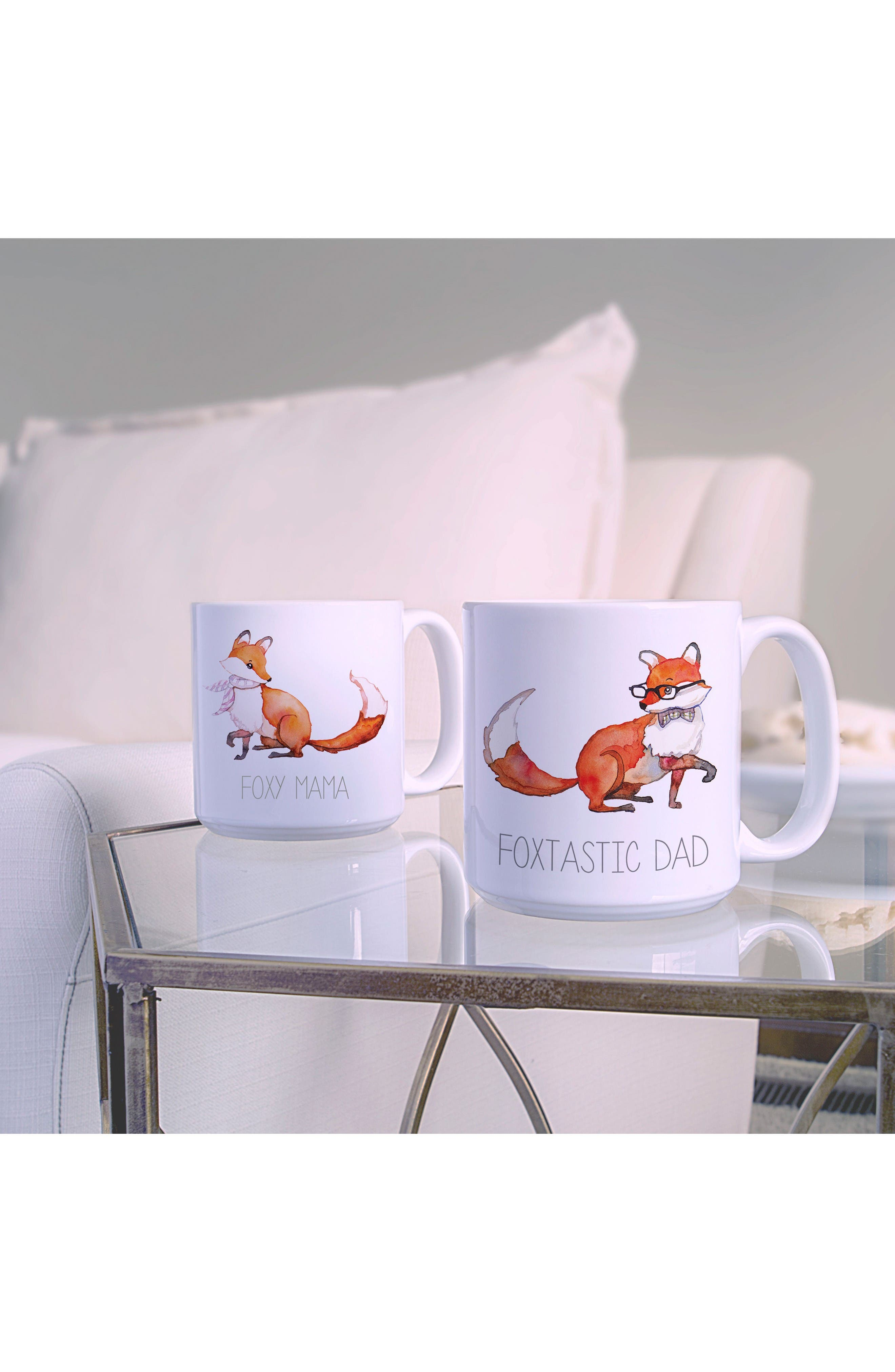 Mom & Dad Fox Set of 2 Coffee Mugs,                             Alternate thumbnail 2, color,                             White