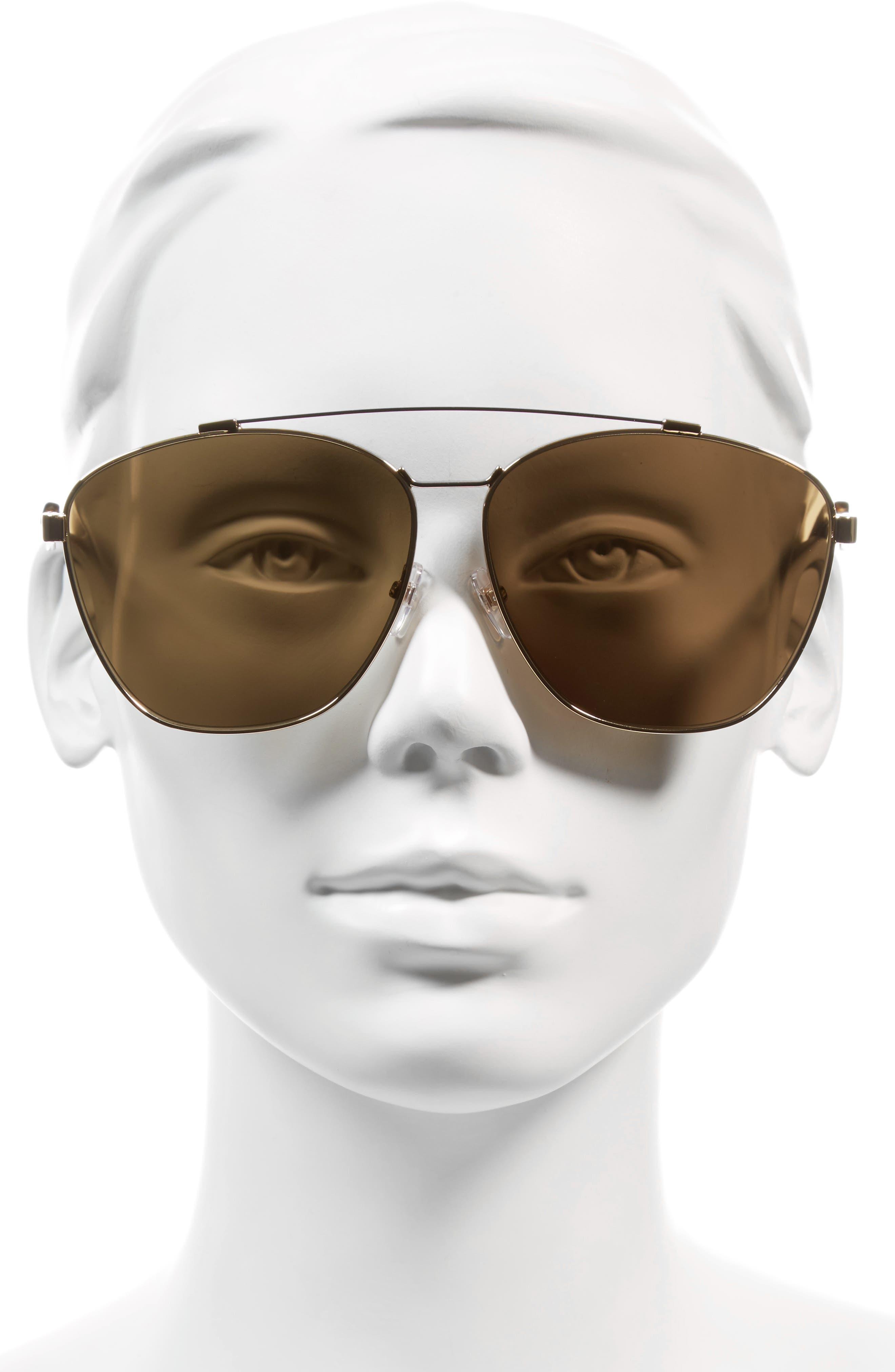 65mm Round Aviator Sunglasses,                             Alternate thumbnail 2, color,                             Gold