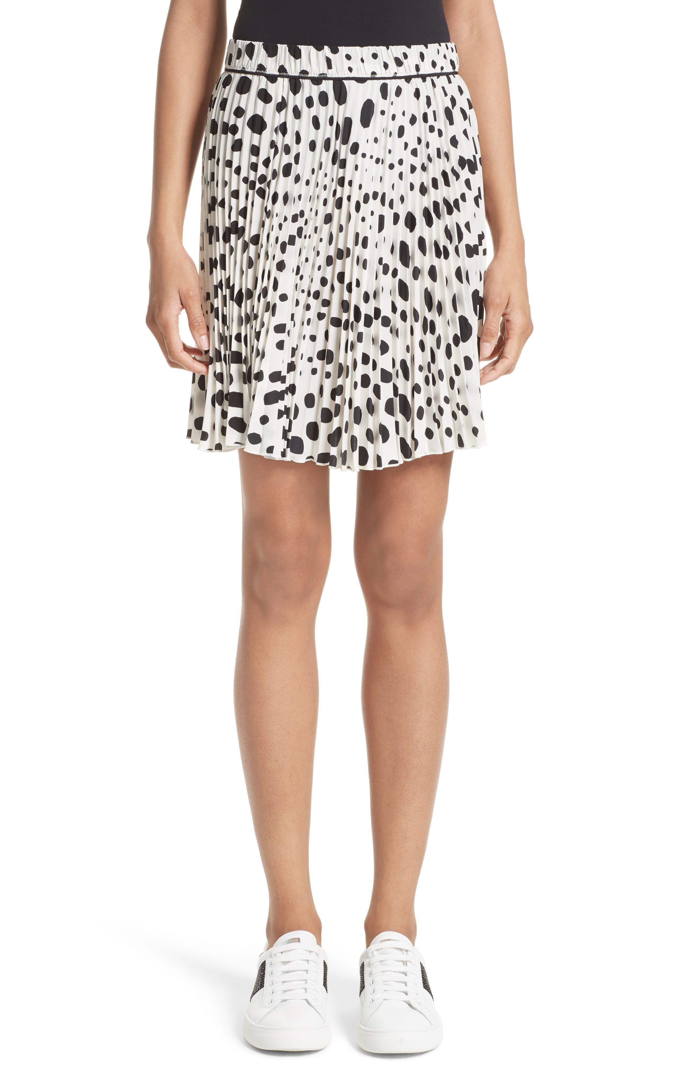 Pleated Polka Dot Silk Skirt,                         Main,                         color, White/ Black