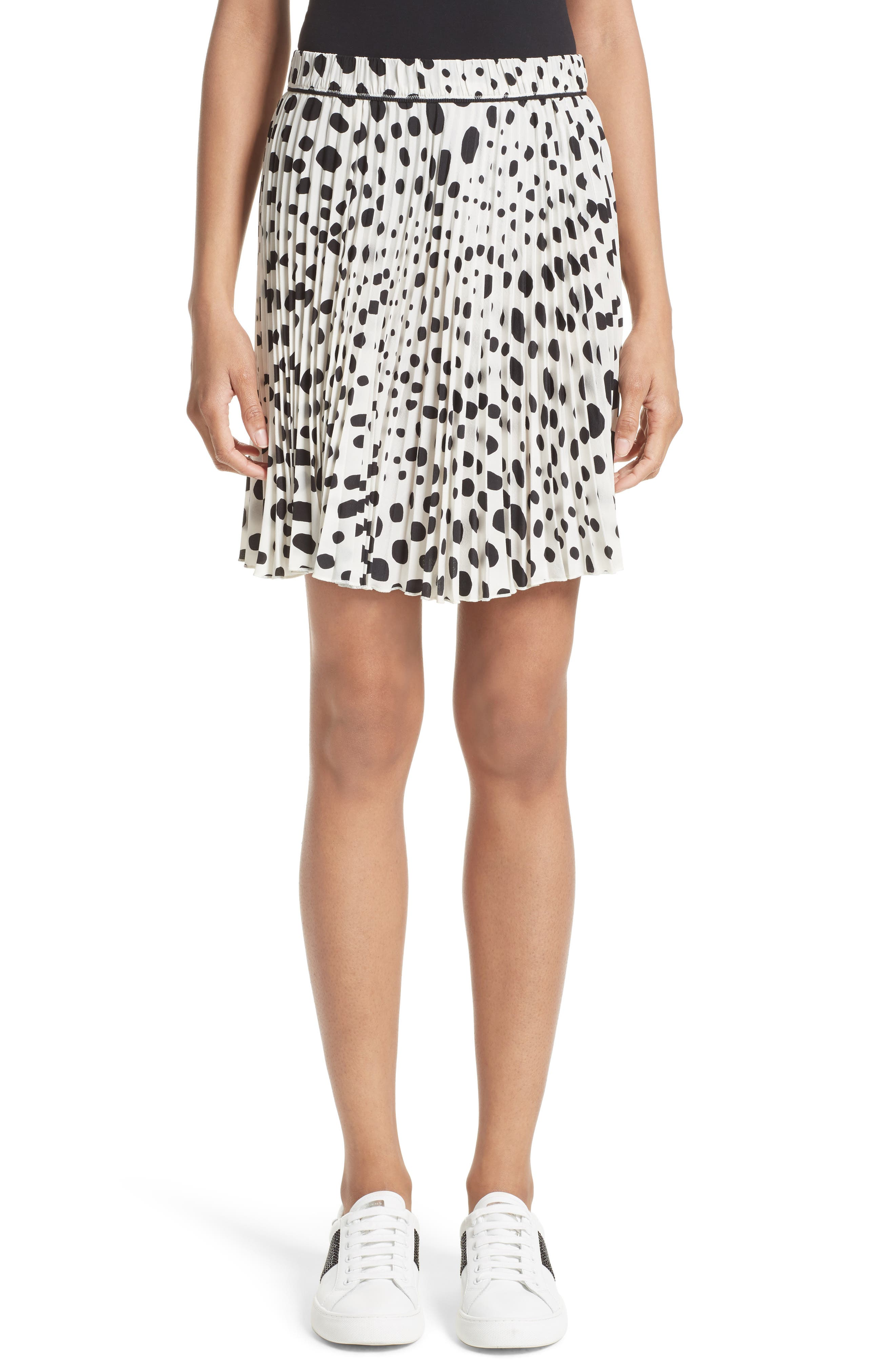 MARC JACOBS Pleated Polka Dot Silk Skirt