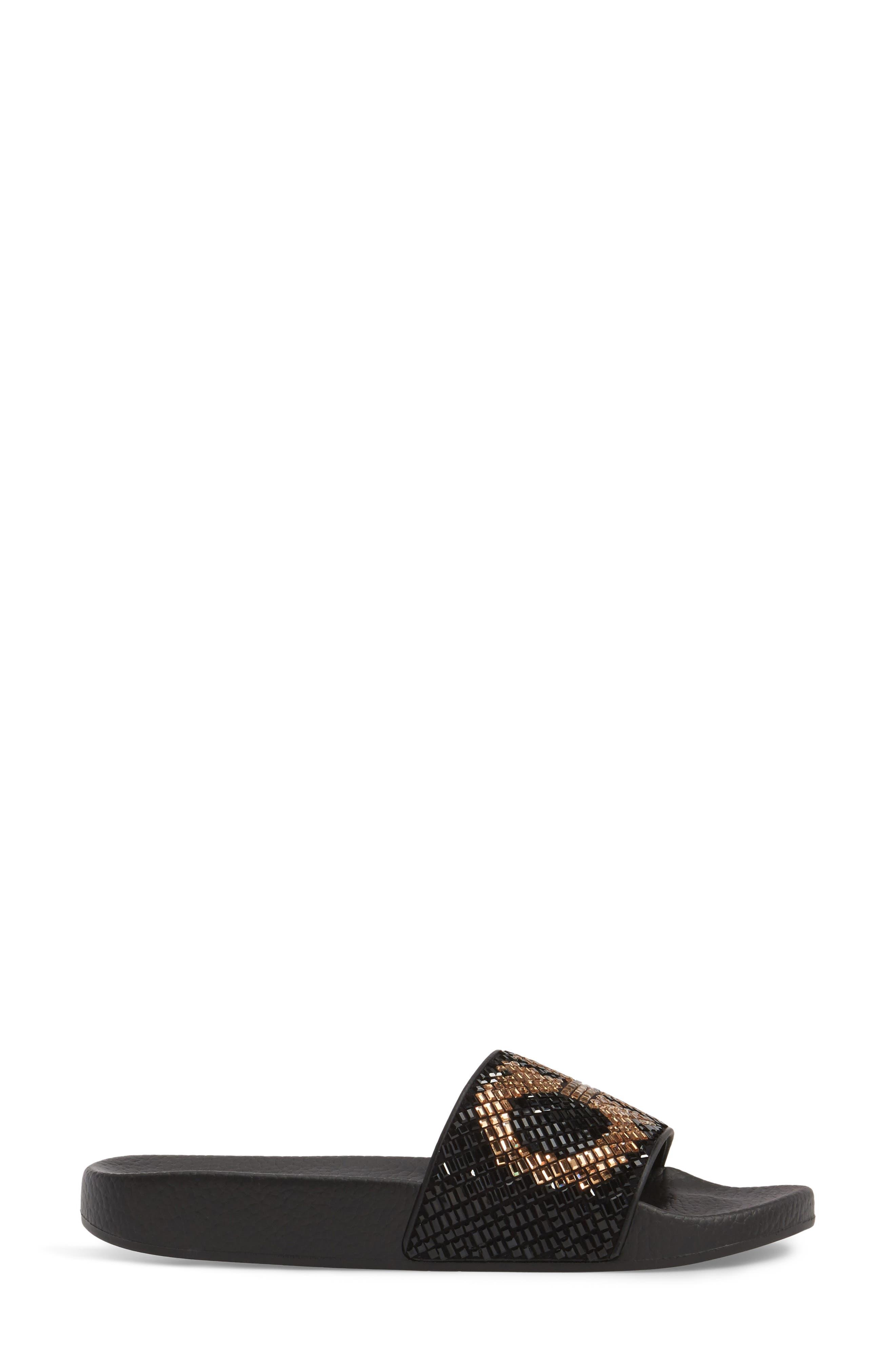 Crystal Logo Slide Sandal,                             Alternate thumbnail 3, color,                             Black Multi