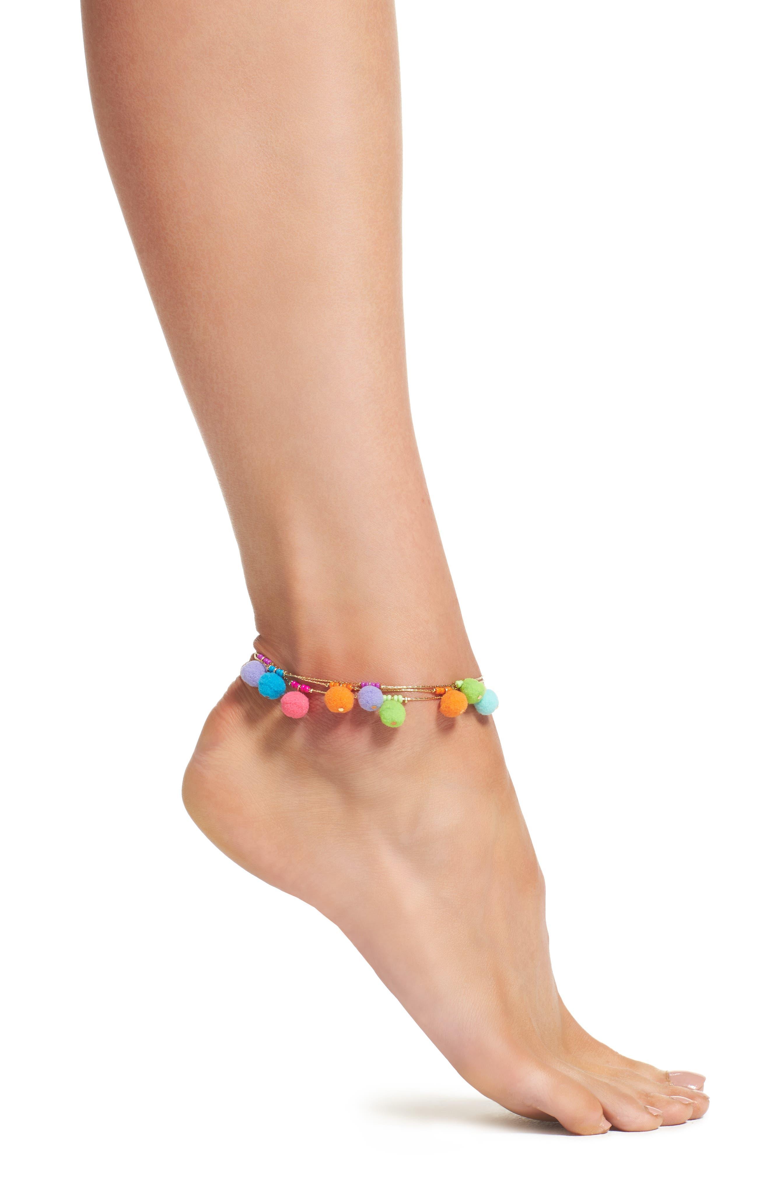 Rebecca Minkoff Savanna Pompom Anklet