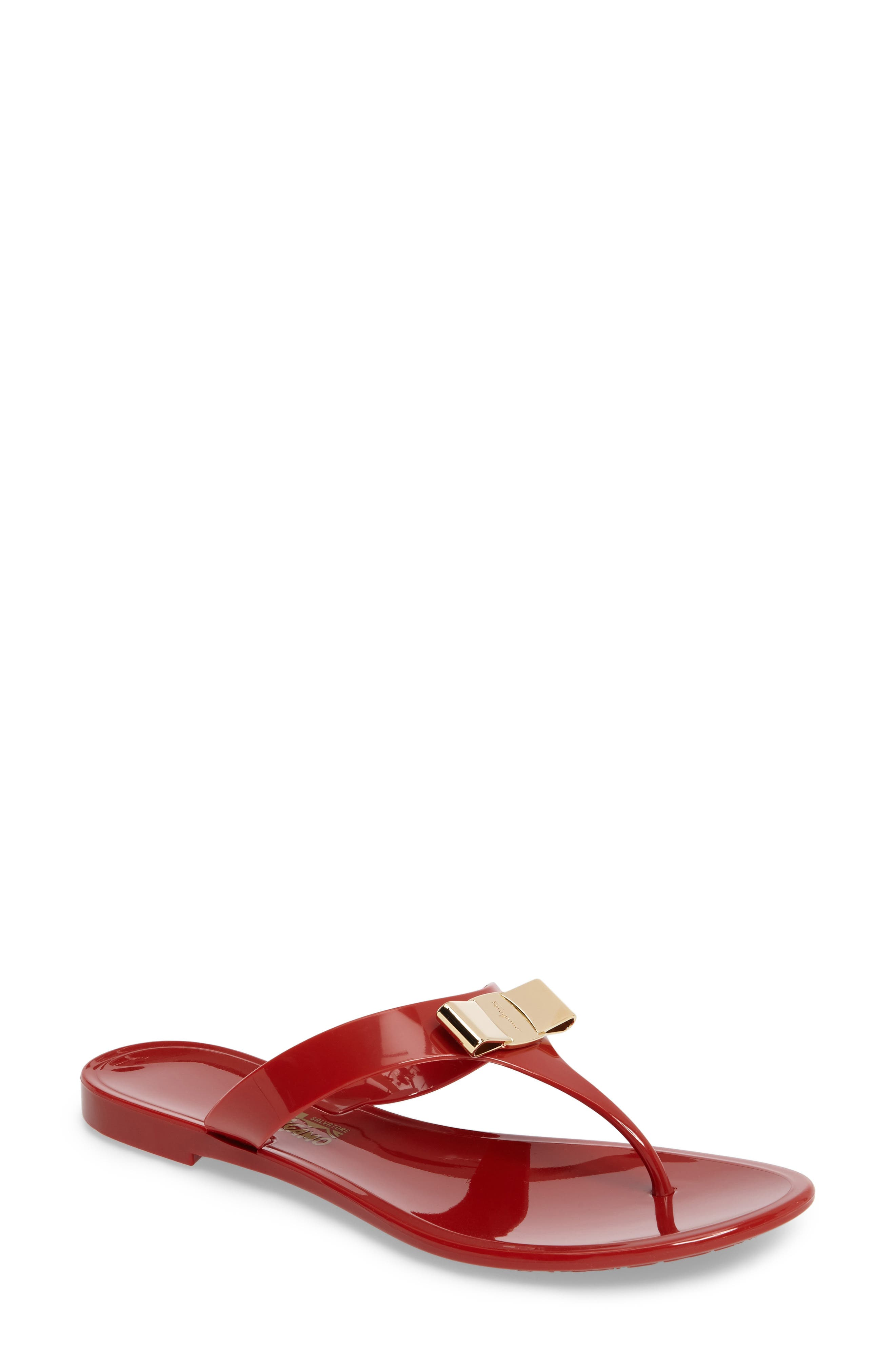 Farelia Jelly Flat Bow Sandal,                         Main,                         color, Red Pvc