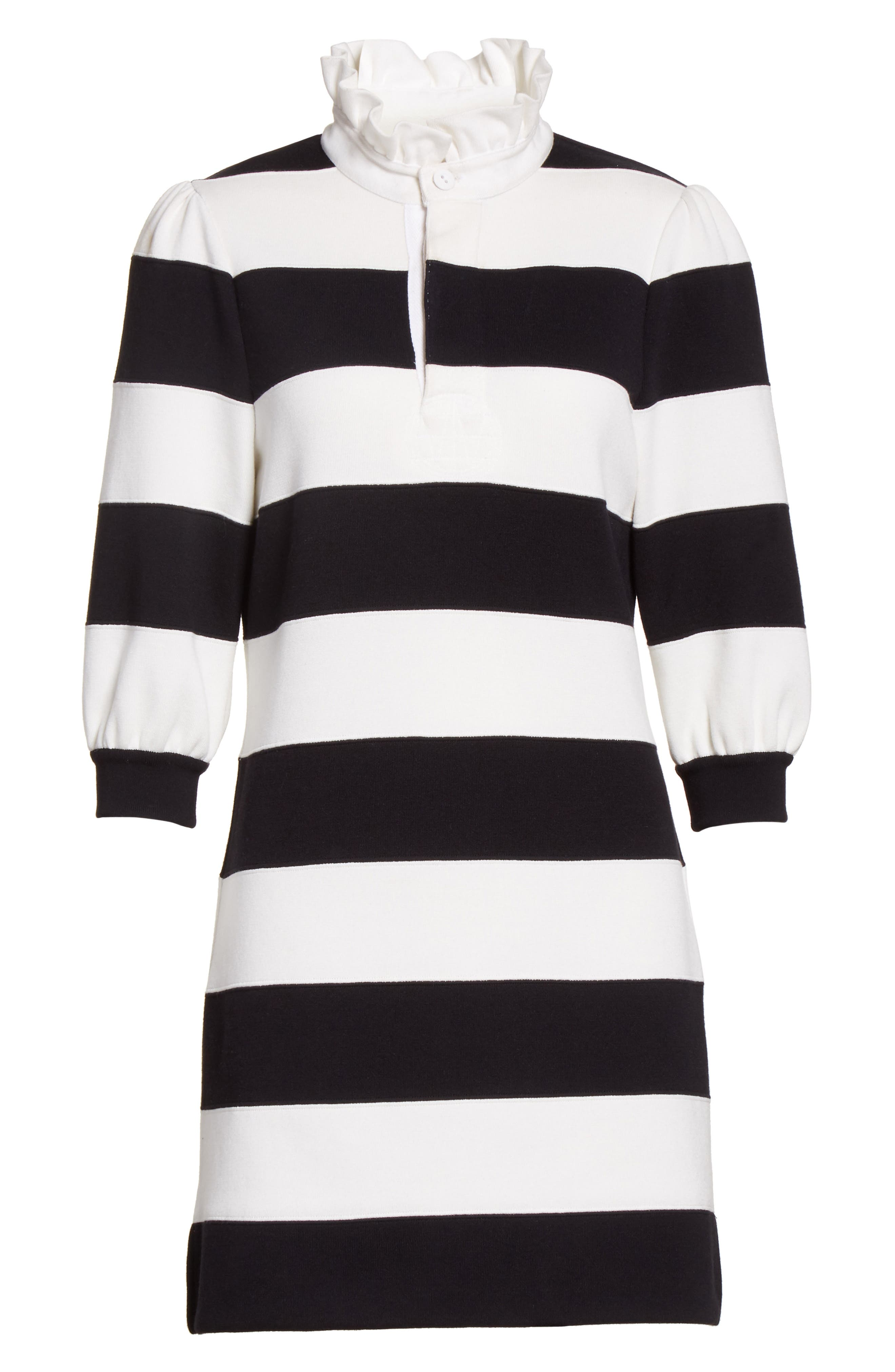 Rugby Sweater Dress,                             Alternate thumbnail 4, color,                             Black Multi