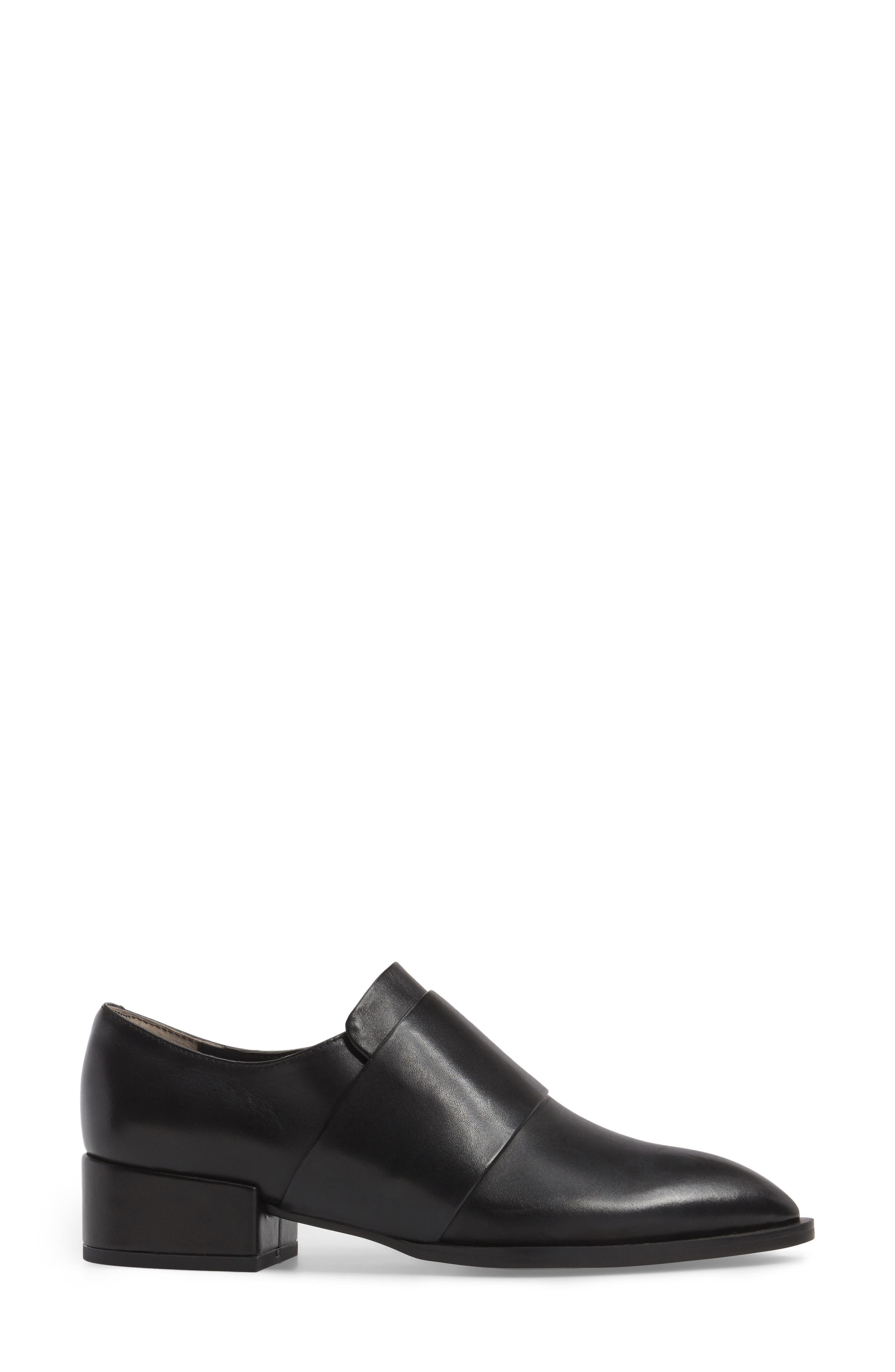 Dilla Loafer,                             Alternate thumbnail 3, color,                             Black Calais Leather