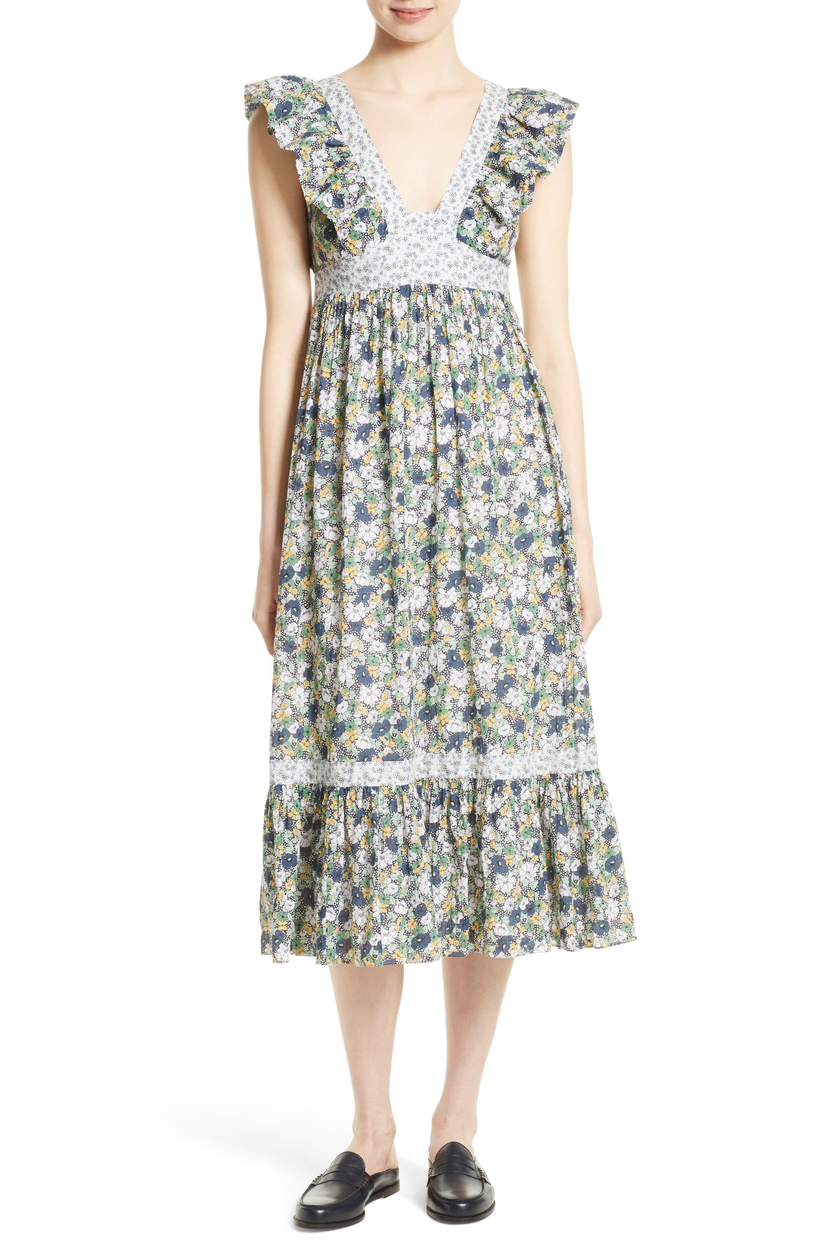 La Vie Rebecca Taylor Suzette Floral Midi Dress