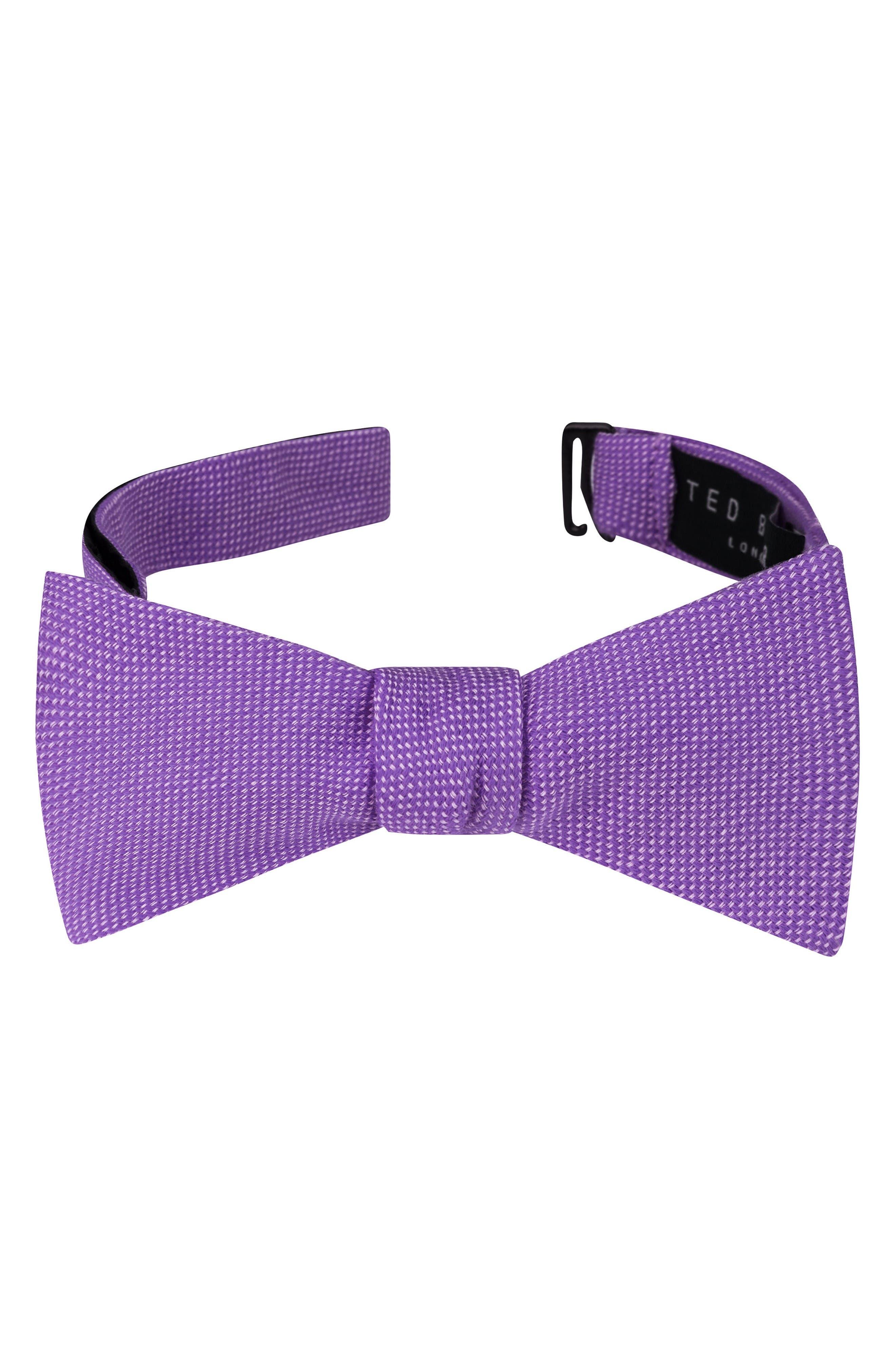 Solid Cotton Bow Tie,                             Main thumbnail 1, color,                             Purple