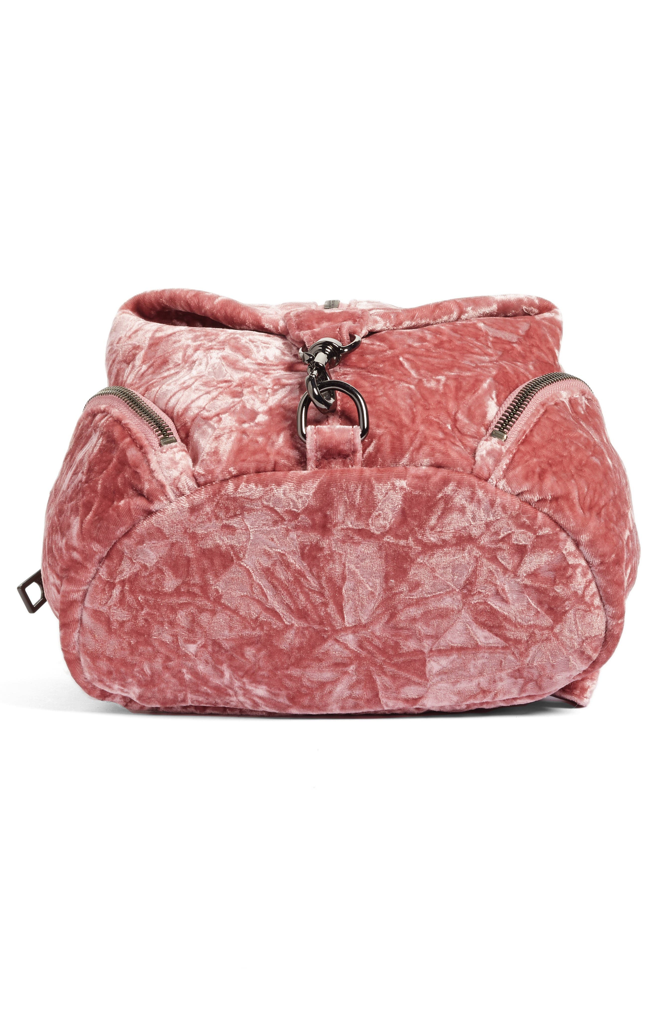 Medium Julian Velvet Backpack,                             Alternate thumbnail 7, color,                             Pink Velvet/ Gunmetal Hardware