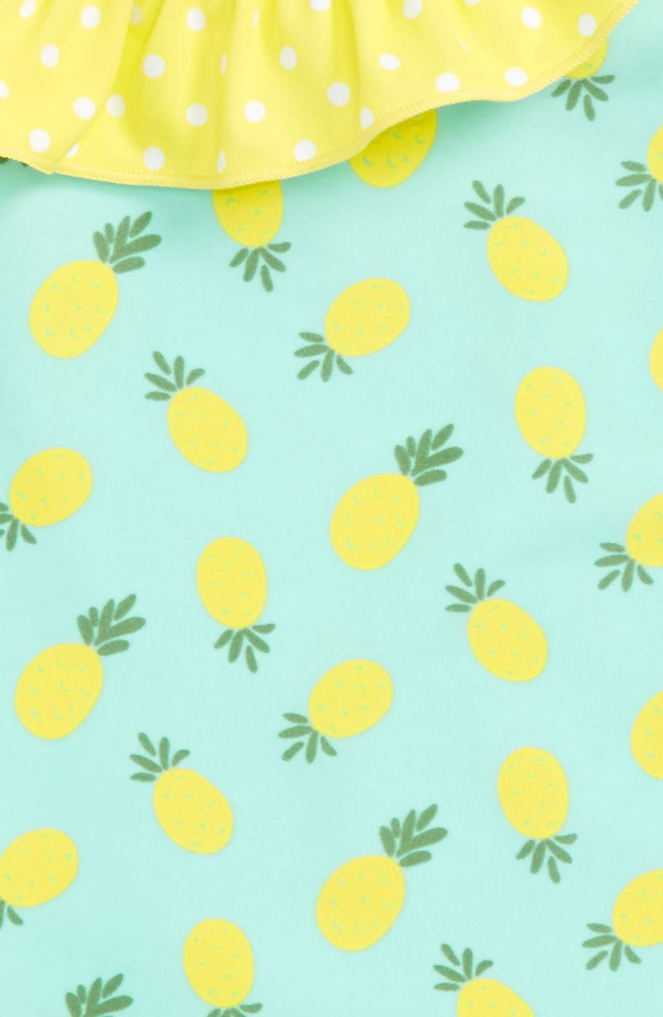 Pineapple Ruffle One-Piece Swimsuit,                             Alternate thumbnail 4, color,                             Teal Angel Pineapples