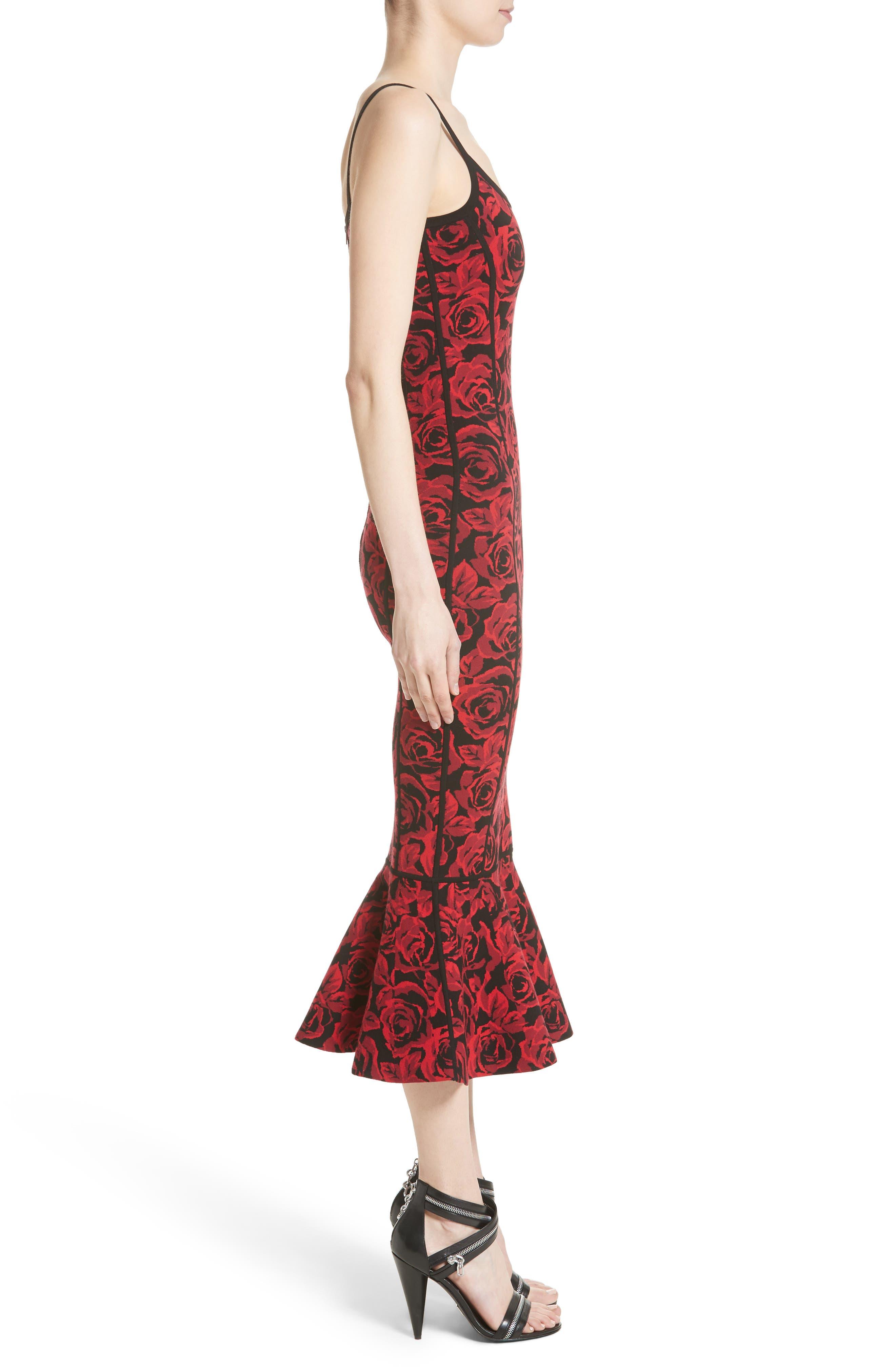 Stretch Rose Jacquard Tank Dress,                             Alternate thumbnail 5, color,                             Crimson/ Black