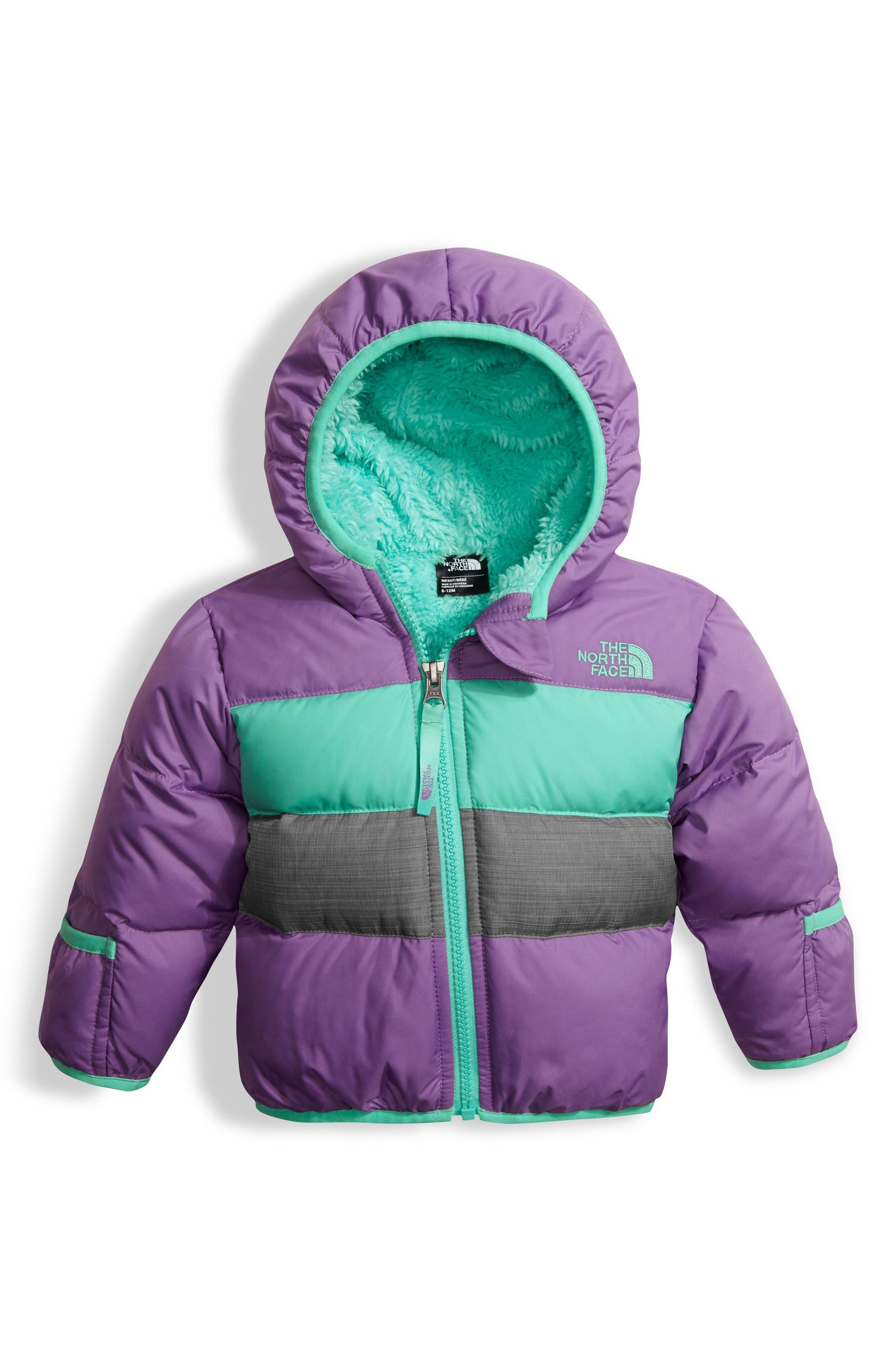 Main Image - The North Face 'Moondoggy' Reversible Down Jacket (Baby Girls)