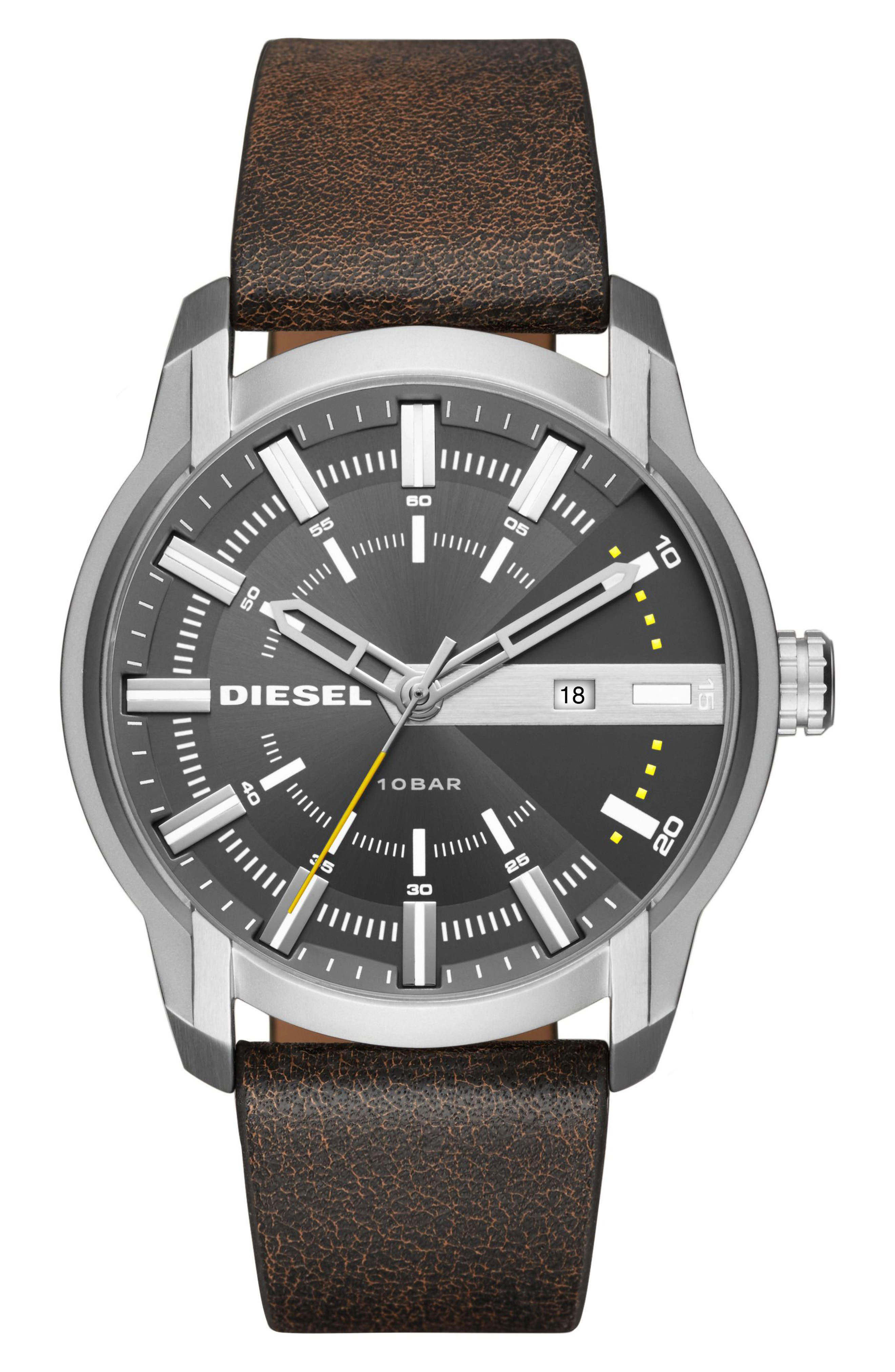 DIESEL<SUP>®</SUP> Armbar Leather Strap Watch, 45mm