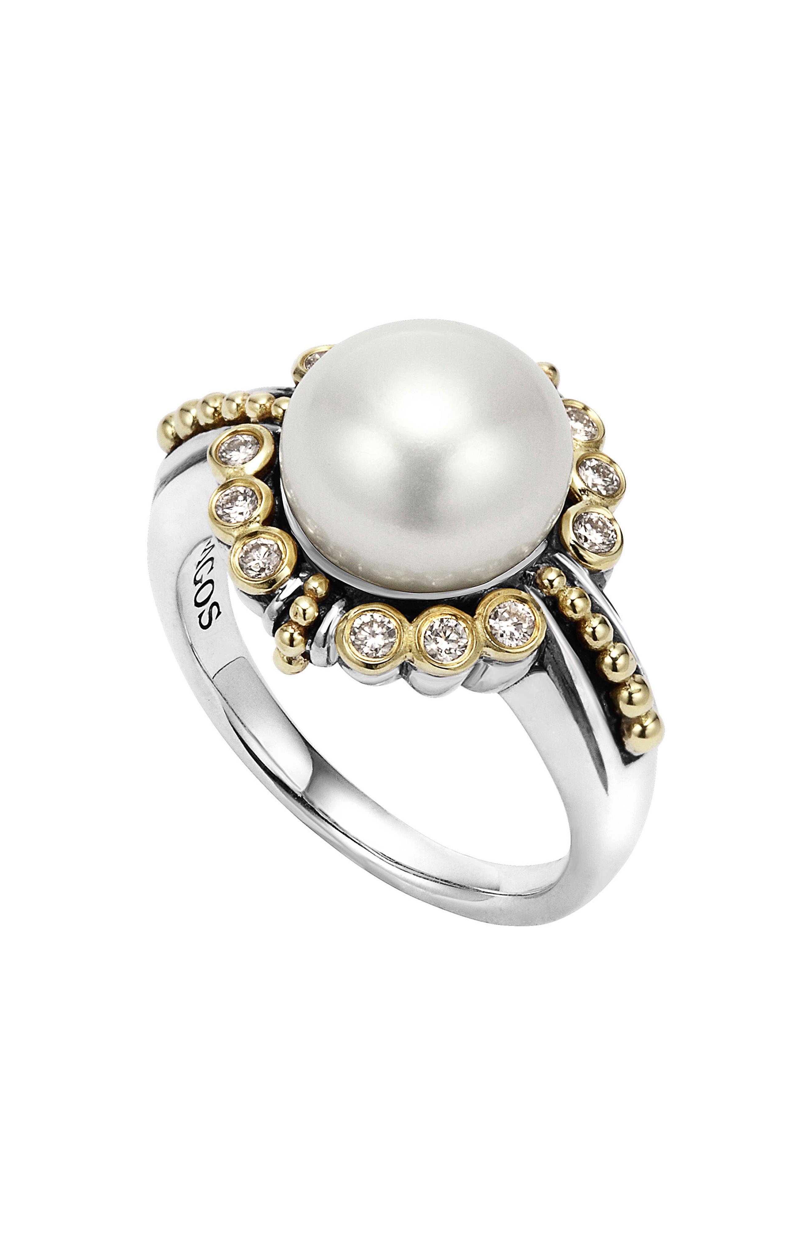 Luna Diamond & Pearl Ring,                         Main,                         color, Silver