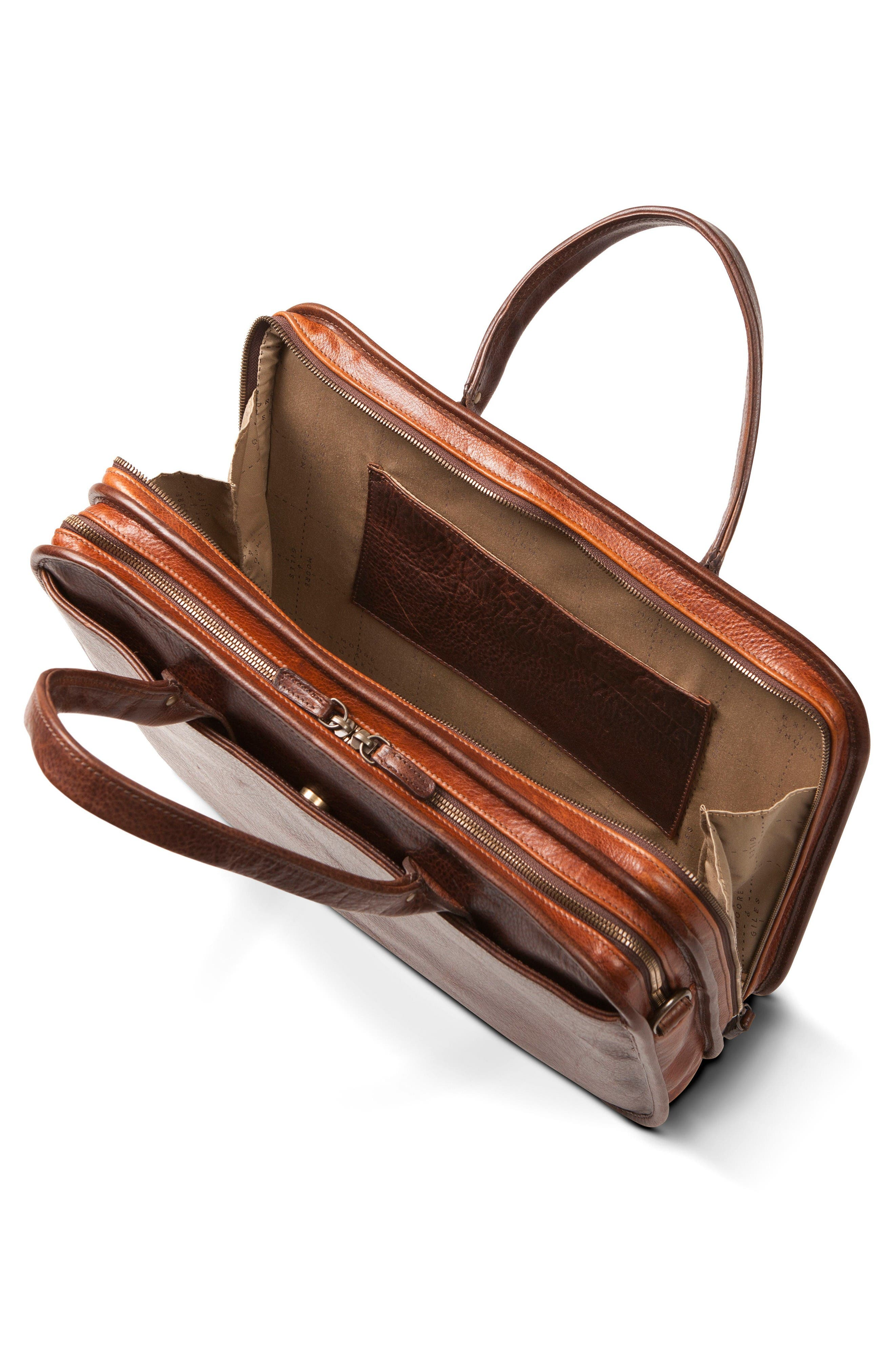 Miller Leather Briefcase,                             Alternate thumbnail 3, color,                             Titan Milled Brown