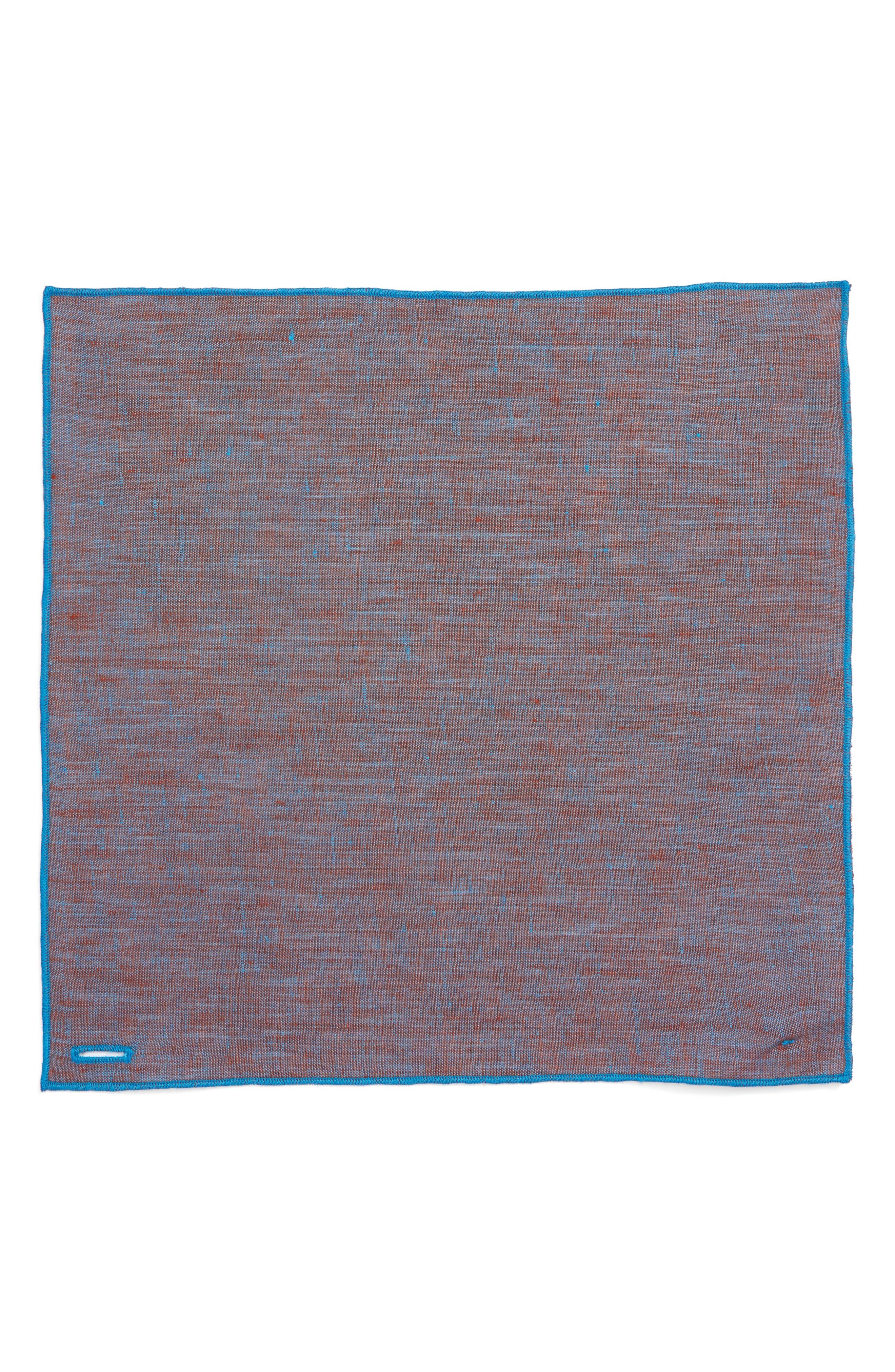 Iridescent Glass Linen Pocket Square,                             Alternate thumbnail 2, color,                             Teal