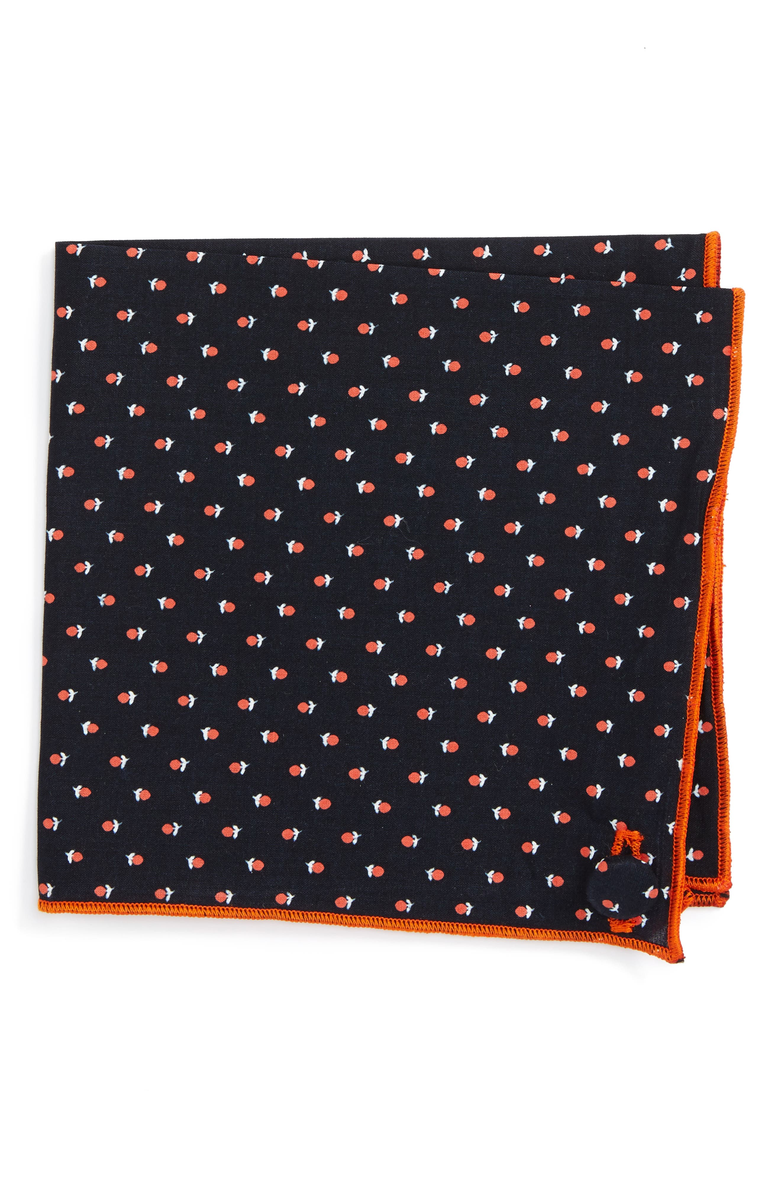 ARMSTRONG & WILSON Navy Lily Cotton Pocket Square