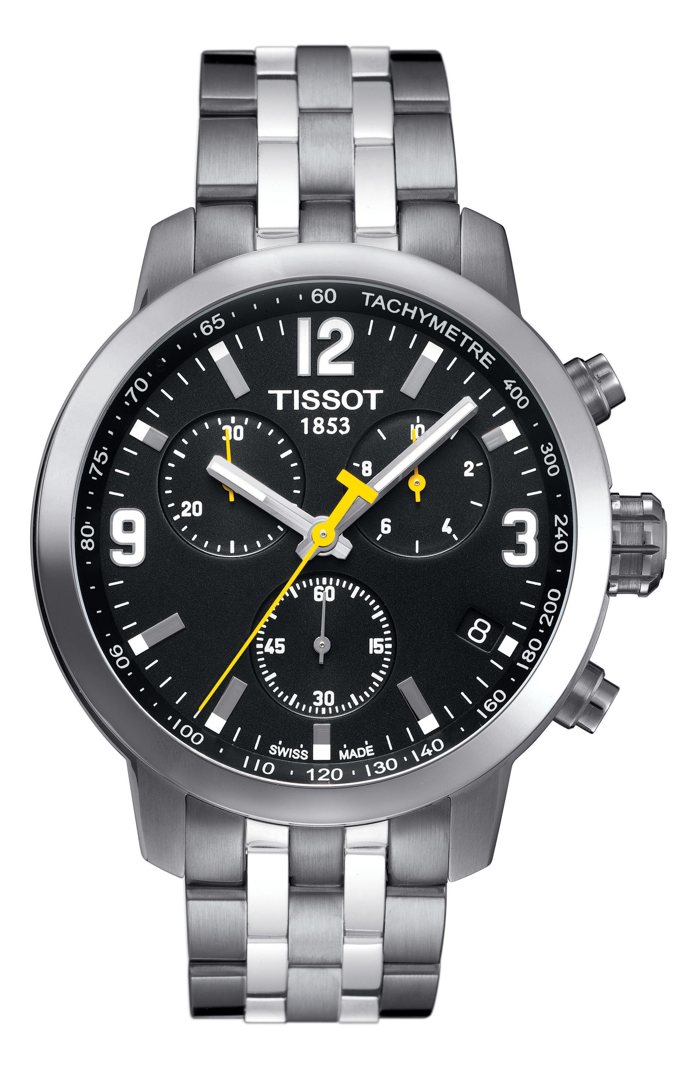 PRC200 Chronograph Bracelet Watch, 42mm,                             Main thumbnail 1, color,                             Silver/ Black/ Silver