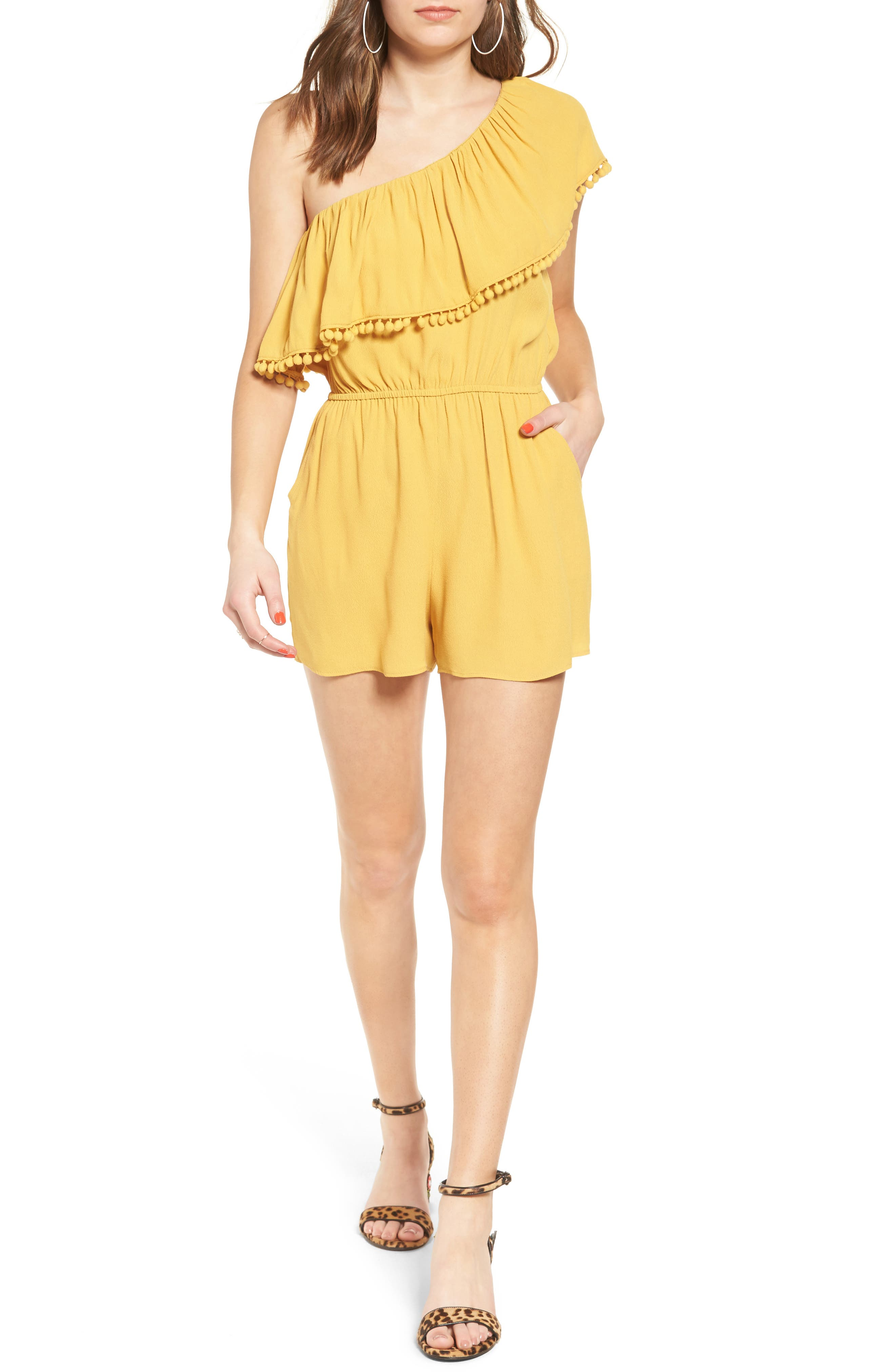 One-Shoulder Ruffle Romper,                         Main,                         color, Yellow
