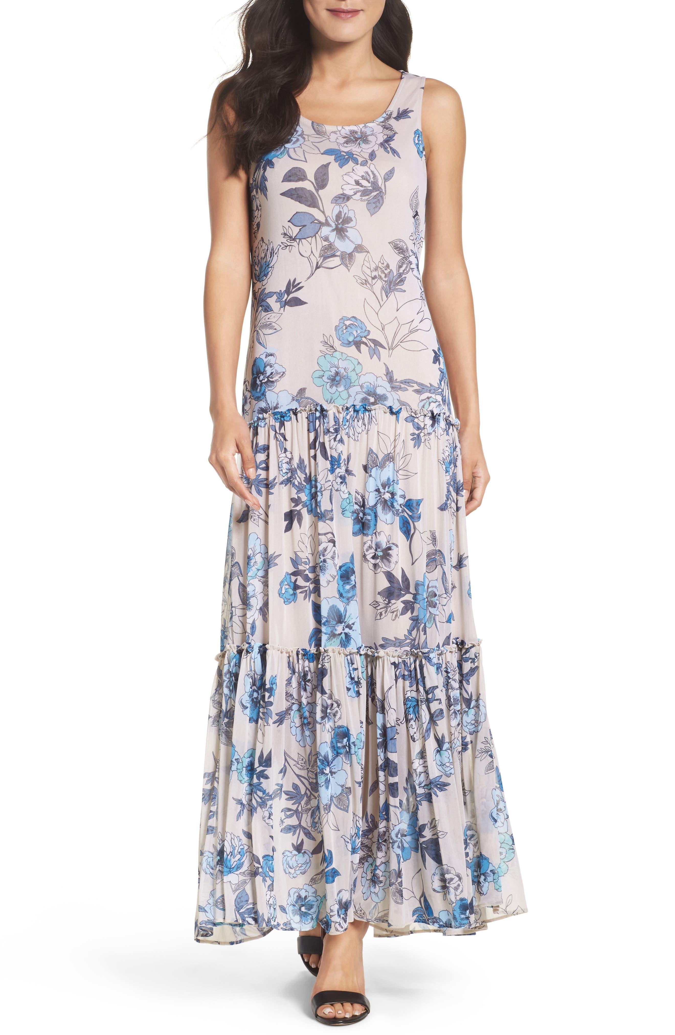 Floral Maxi Dress,                         Main,                         color, Porcelain