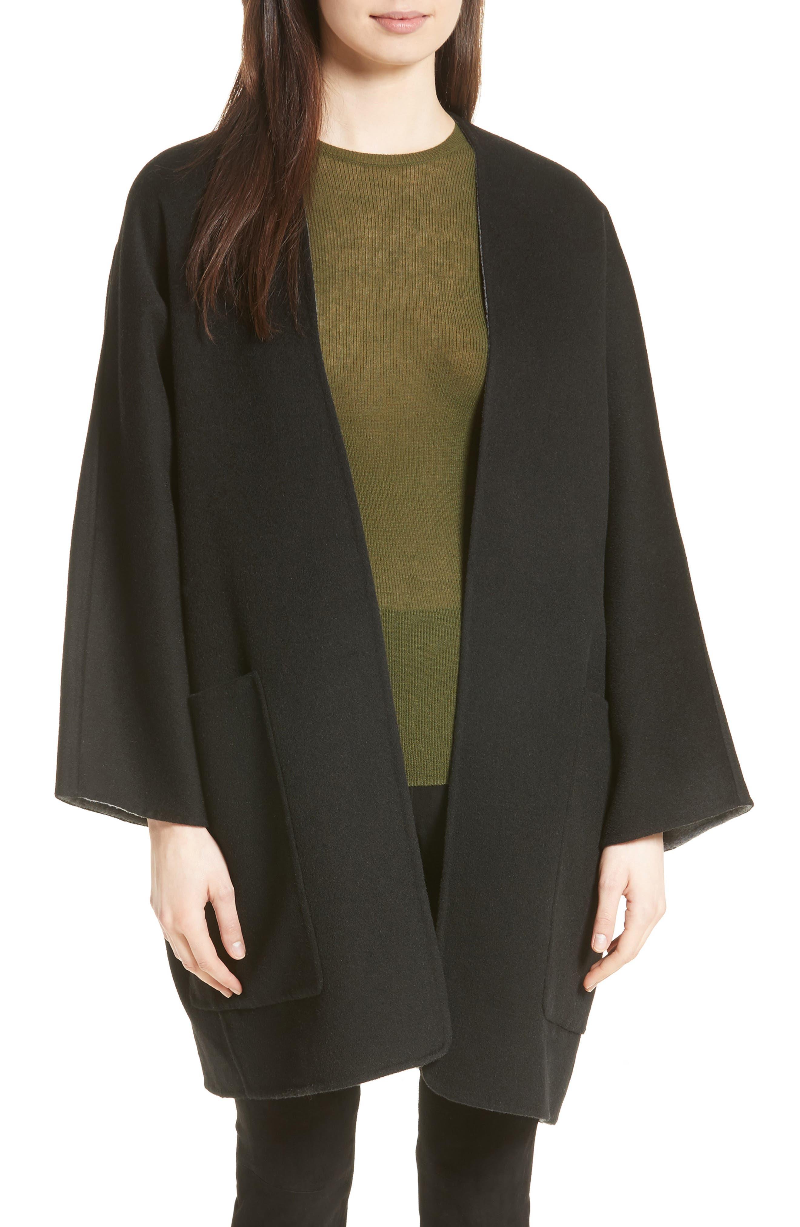 Reversible Wool & Cashmere Clutch Coat,                         Main,                         color, Black/ Heather