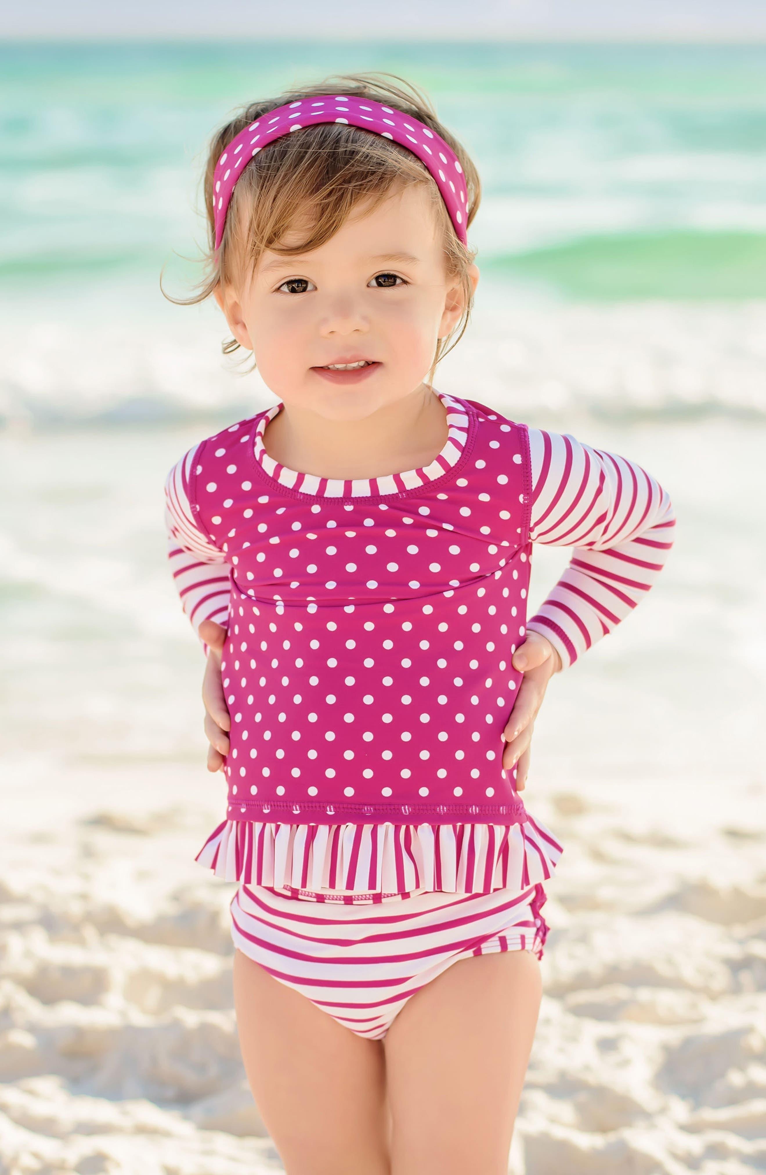 Alternate Image 2  - RuffleButts Two-Piece Rashguard Swimsuit & Head Wrap Set (Baby Girls)
