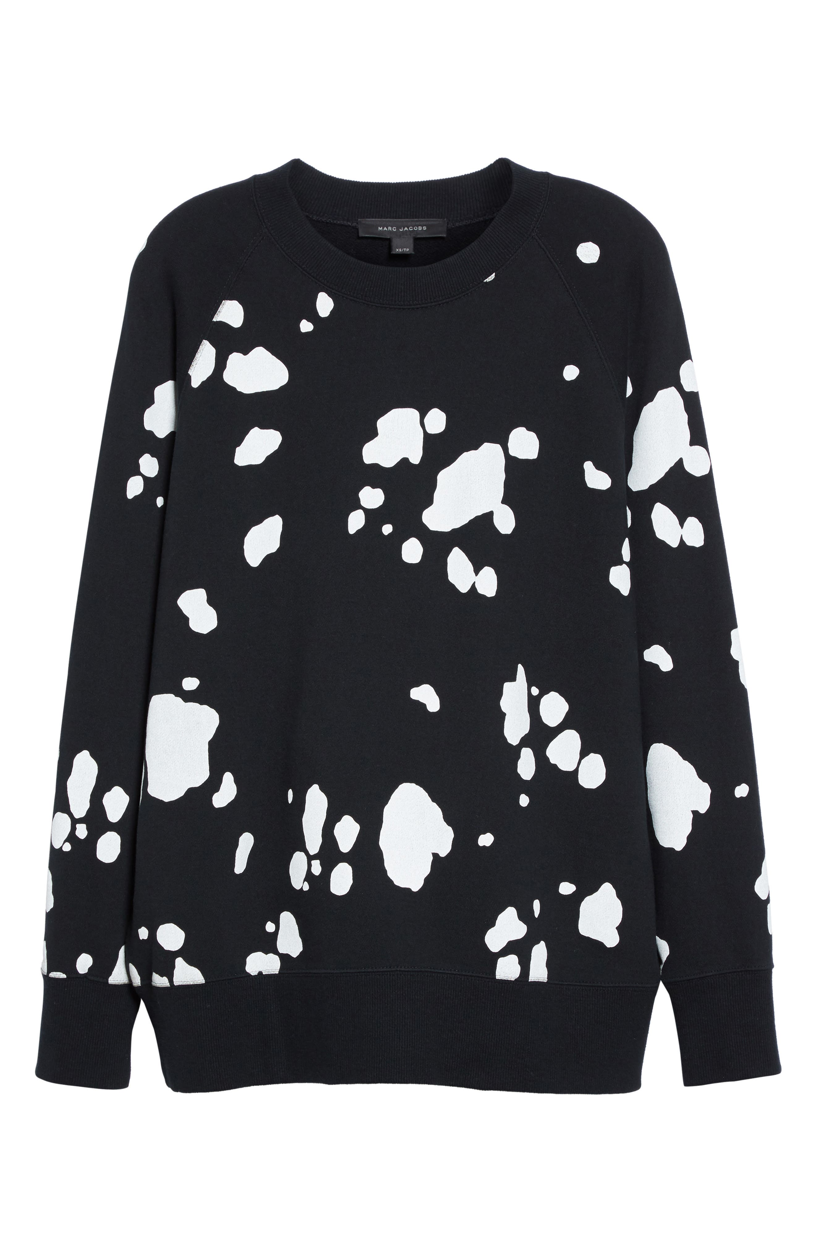 Dalmatian Print Sweatshirt,                             Alternate thumbnail 4, color,                             Black Multi