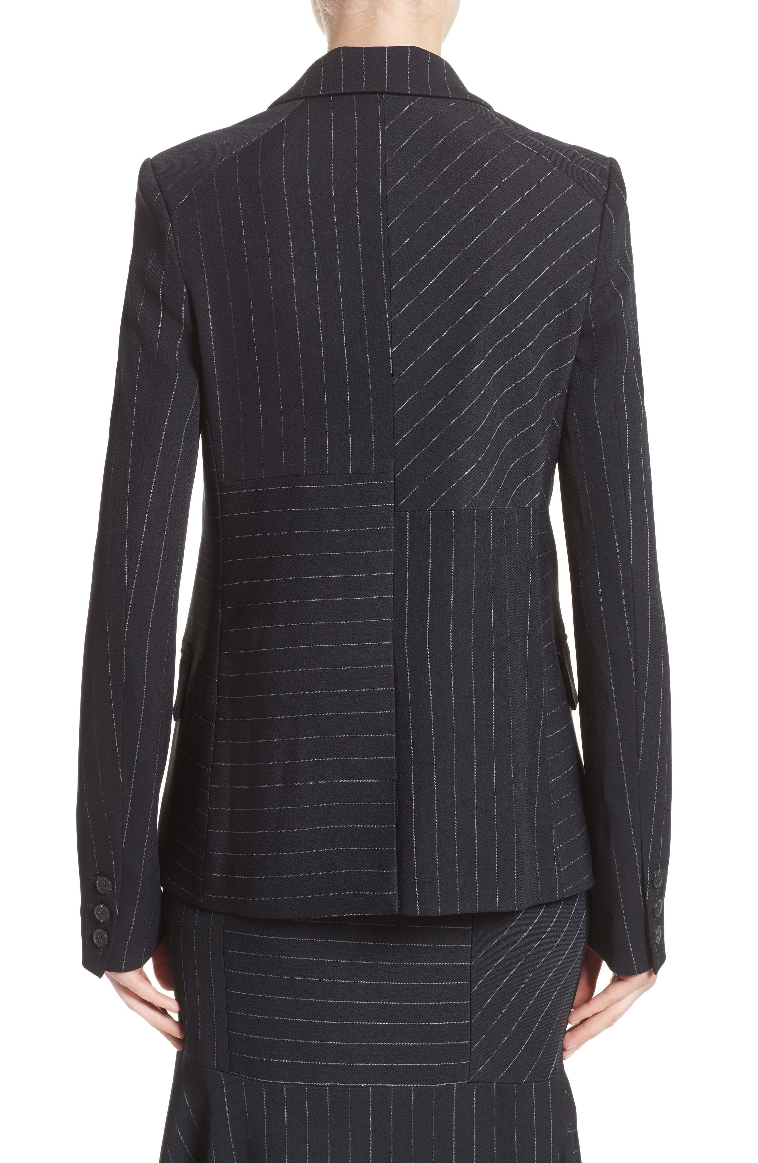 Pinstripe Stretch Jacket,                             Alternate thumbnail 2, color,                             Black/ Chalk