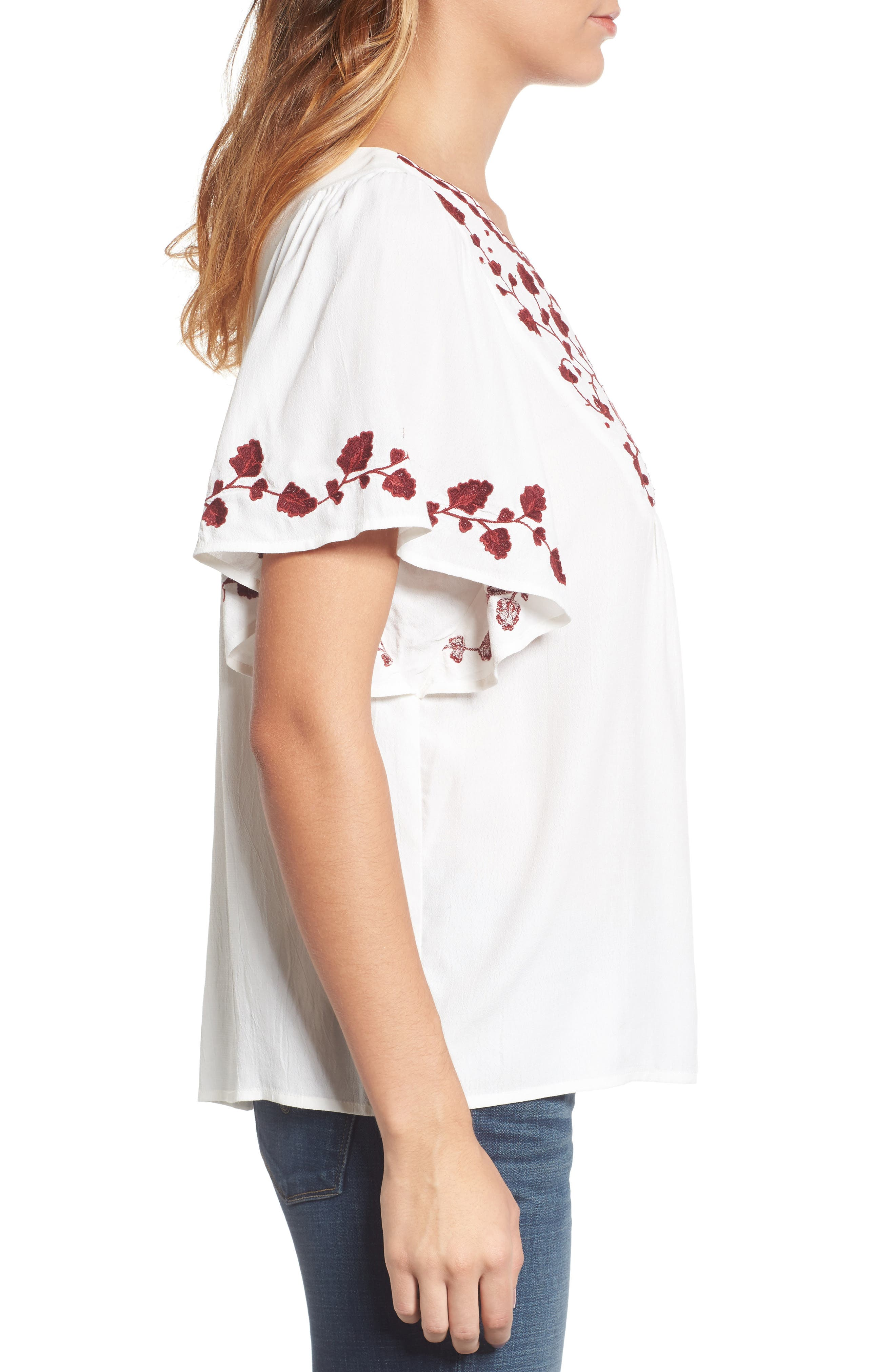 Alternate Image 3  - Lucky Brand Hannah Embroidered Peasant Top