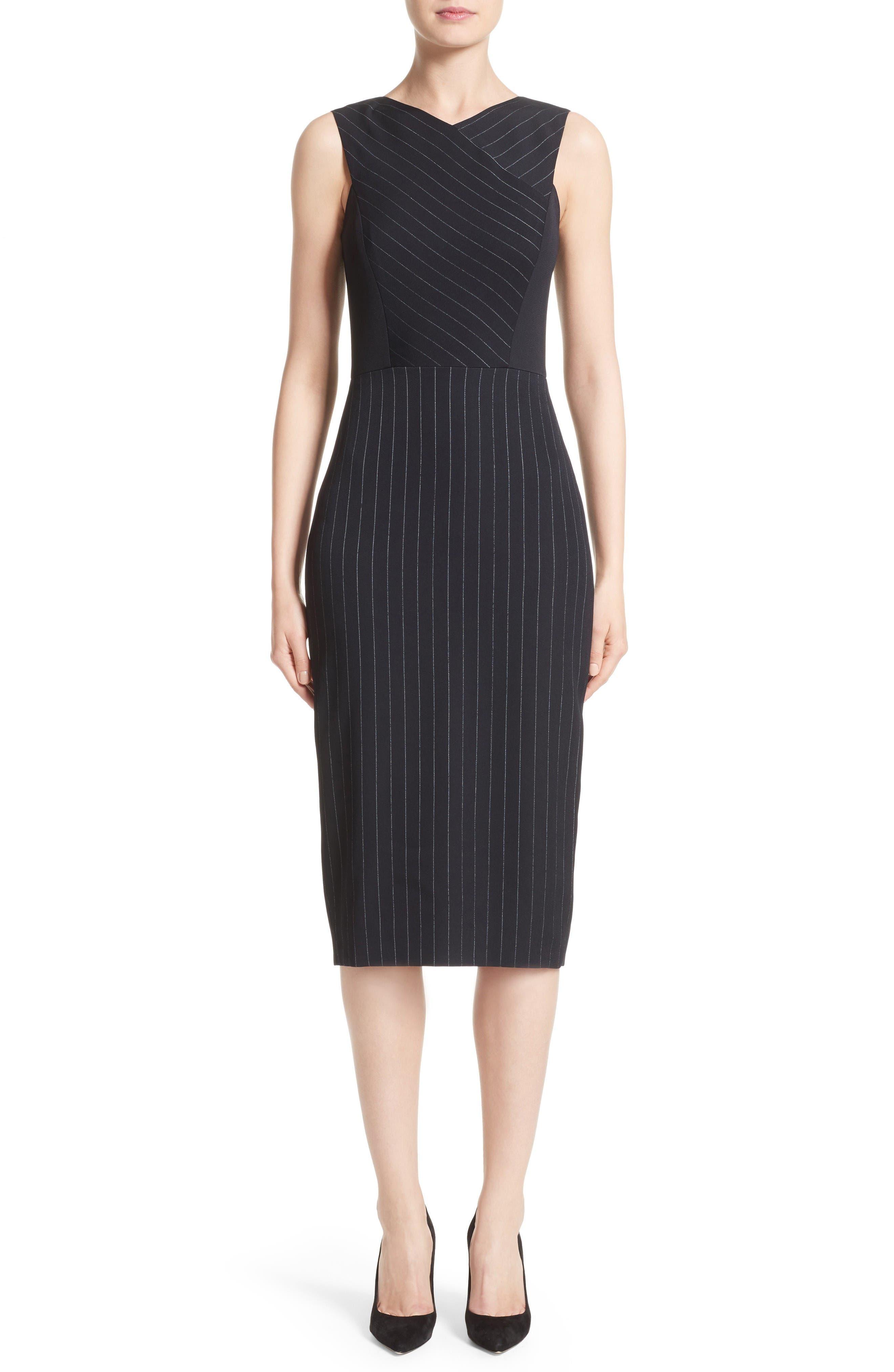 Pinstripe Stretch Dress,                             Main thumbnail 1, color,                             Black/ Chalk