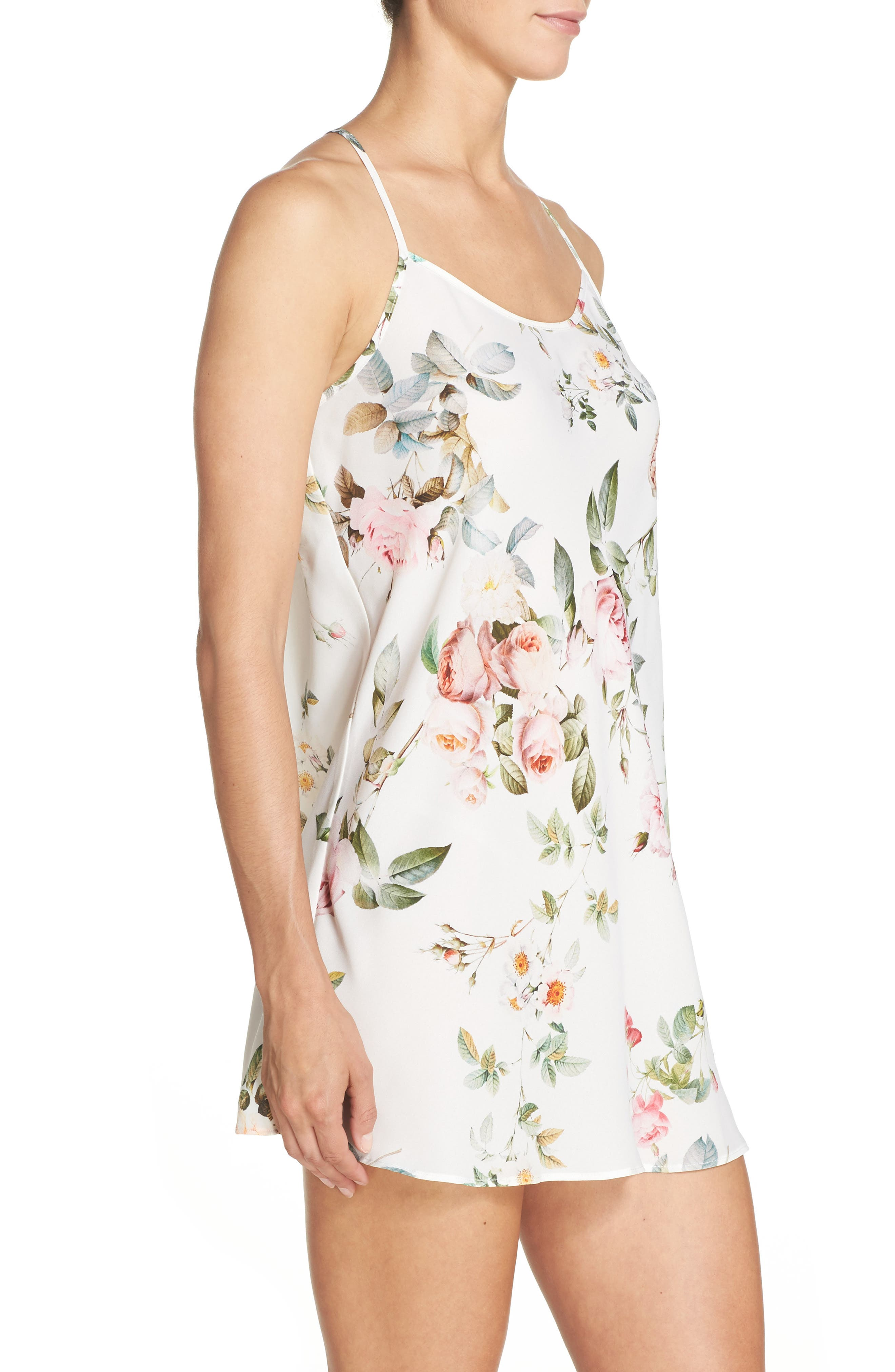Abigal Chemise,                             Alternate thumbnail 3, color,                             Ivory Floral