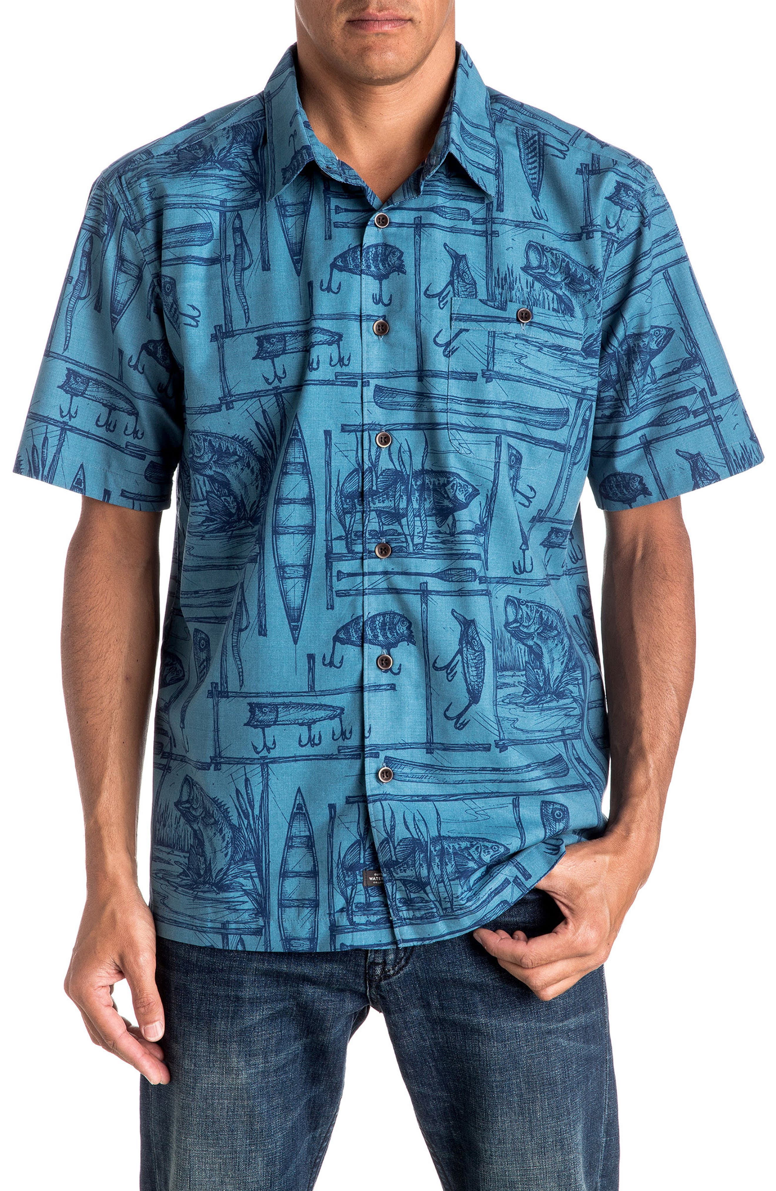 Quiksilver Angler Regular Fit Print Camp Shirt